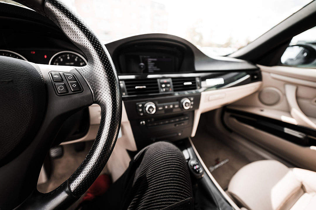 Download Light Modern Car Interior from Driver's View FREE Stock Photo
