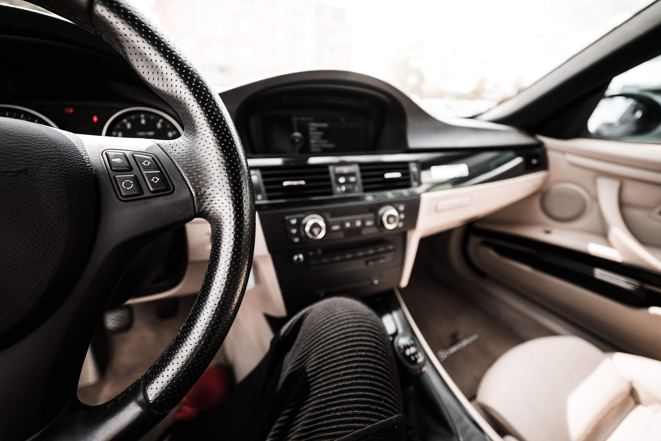 Light Modern Car Interior from Driver's View Free Stock Photo