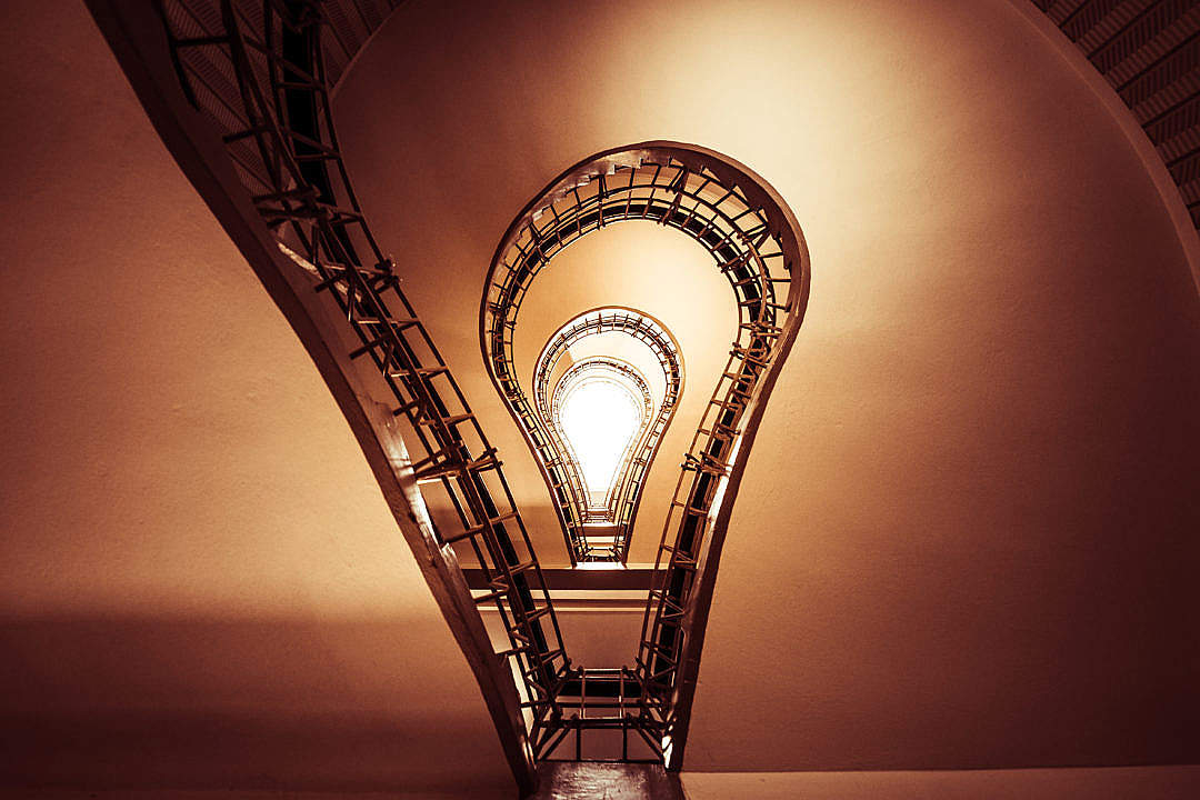 Download Lightbulb Stairs in House of the Black Madonna, Prague FREE Stock Photo