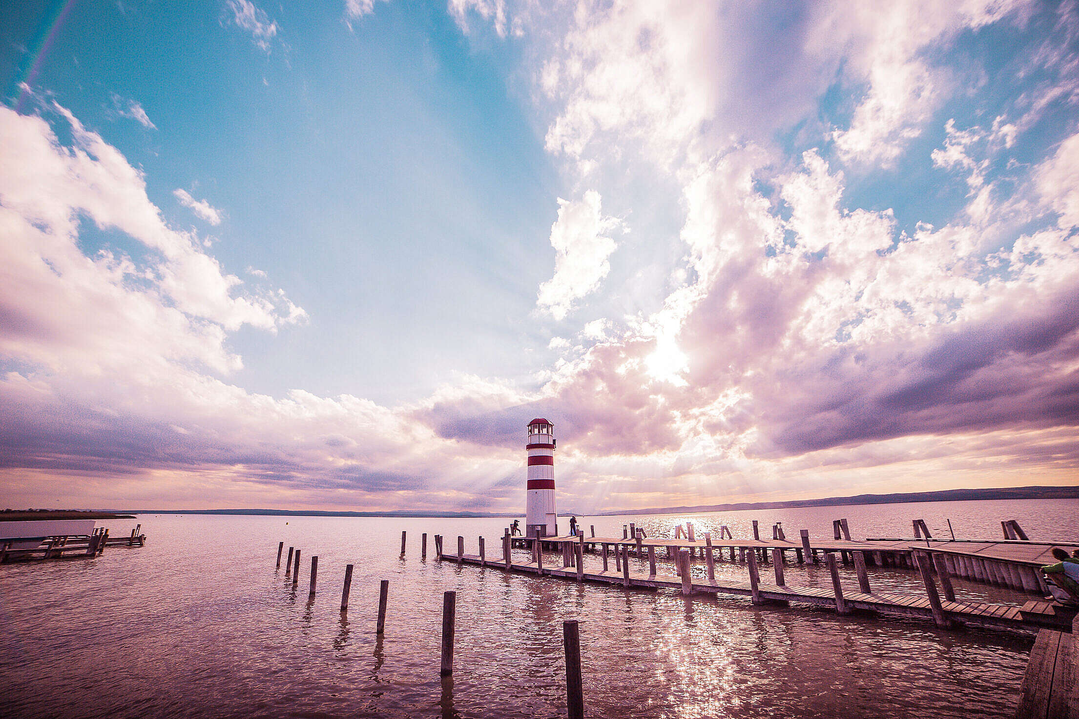 Lighthouse and Sunset: Colorful Edit Free Stock Photo