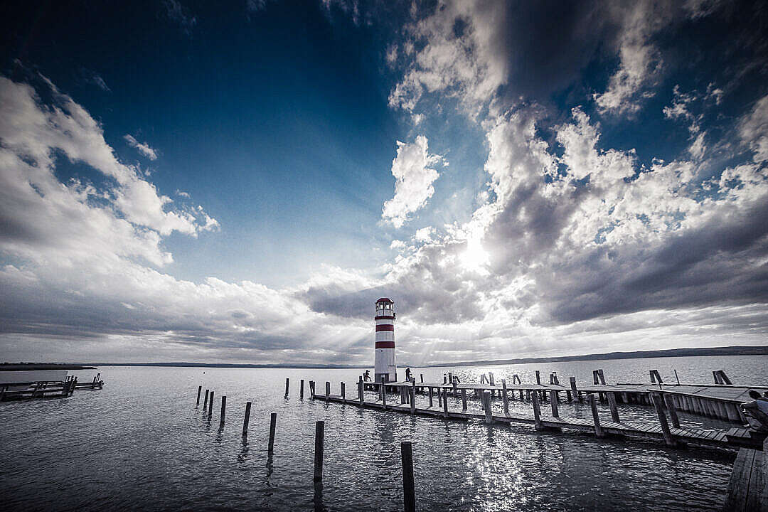 Download Lighthouse and Sunset: Dramatic Sky Edit FREE Stock Photo