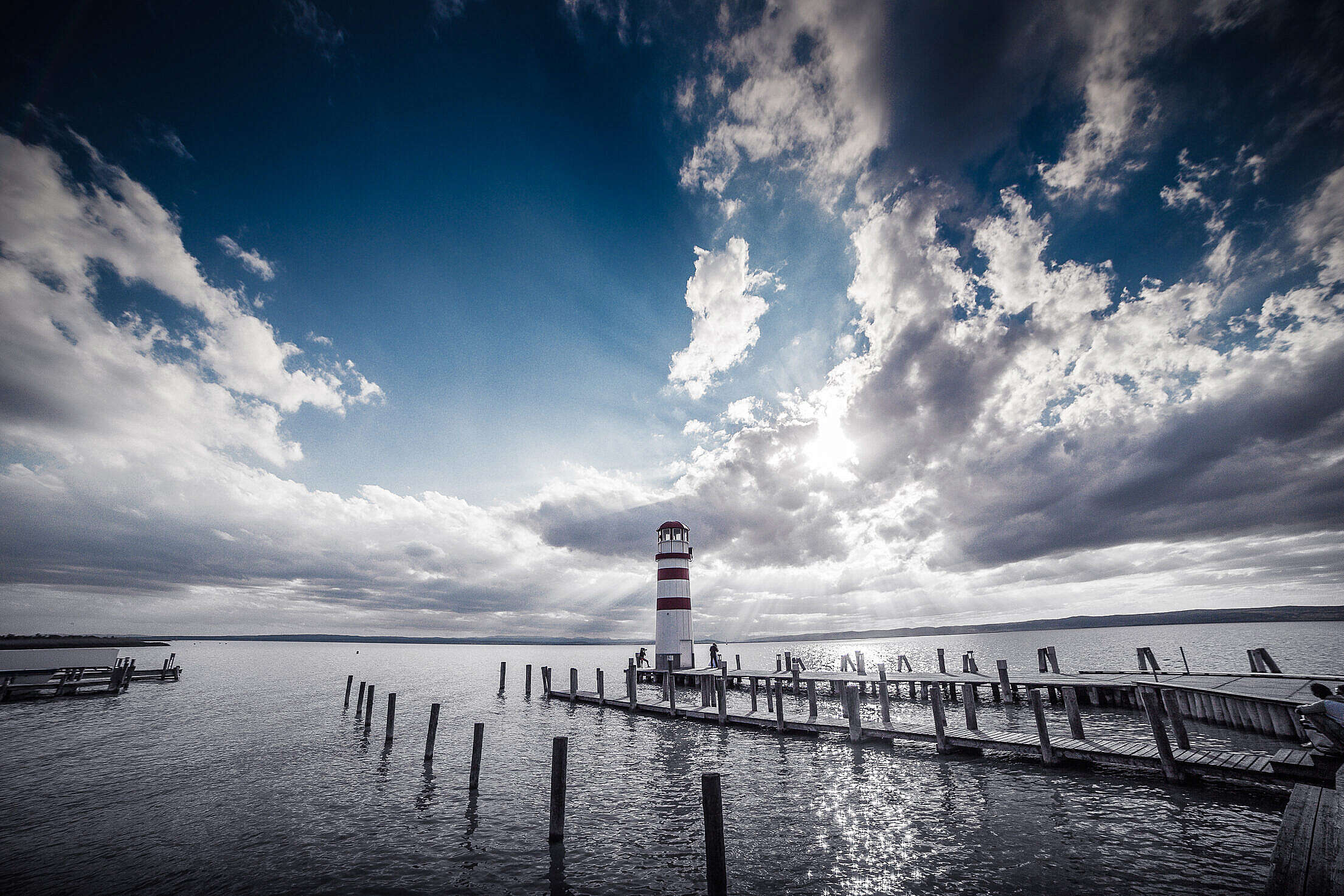 Lighthouse and Sunset: Dramatic Sky Edit Free Stock Photo