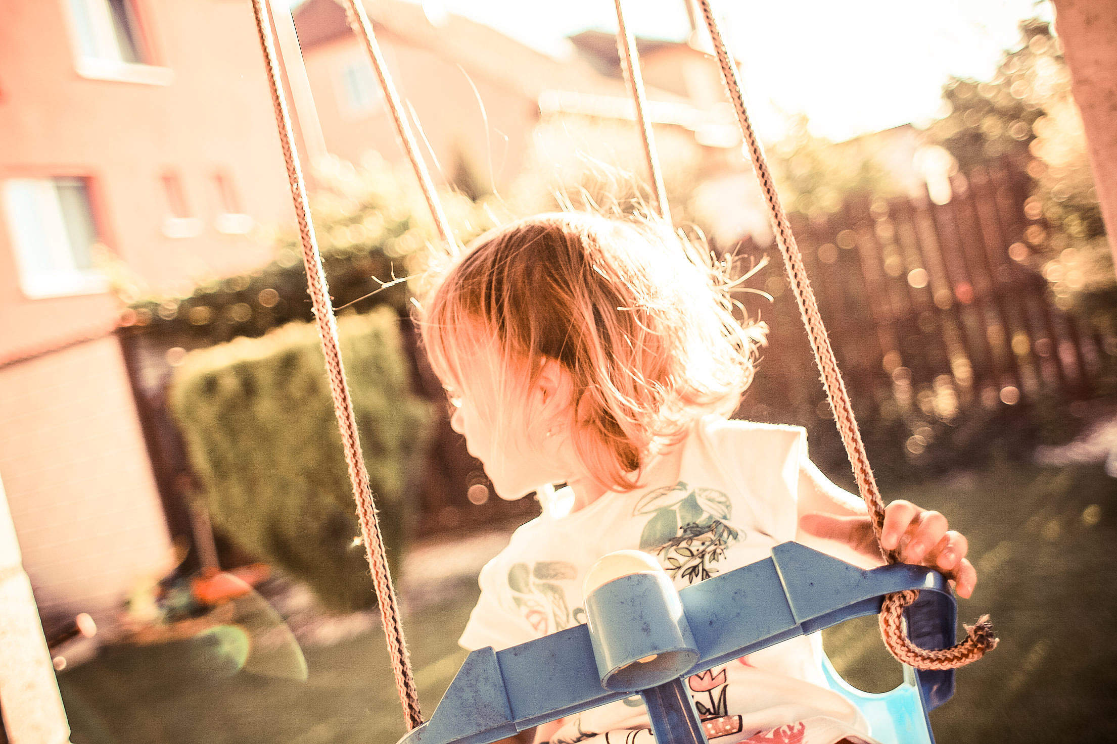 Little Girl on a Swing Free Stock Photo