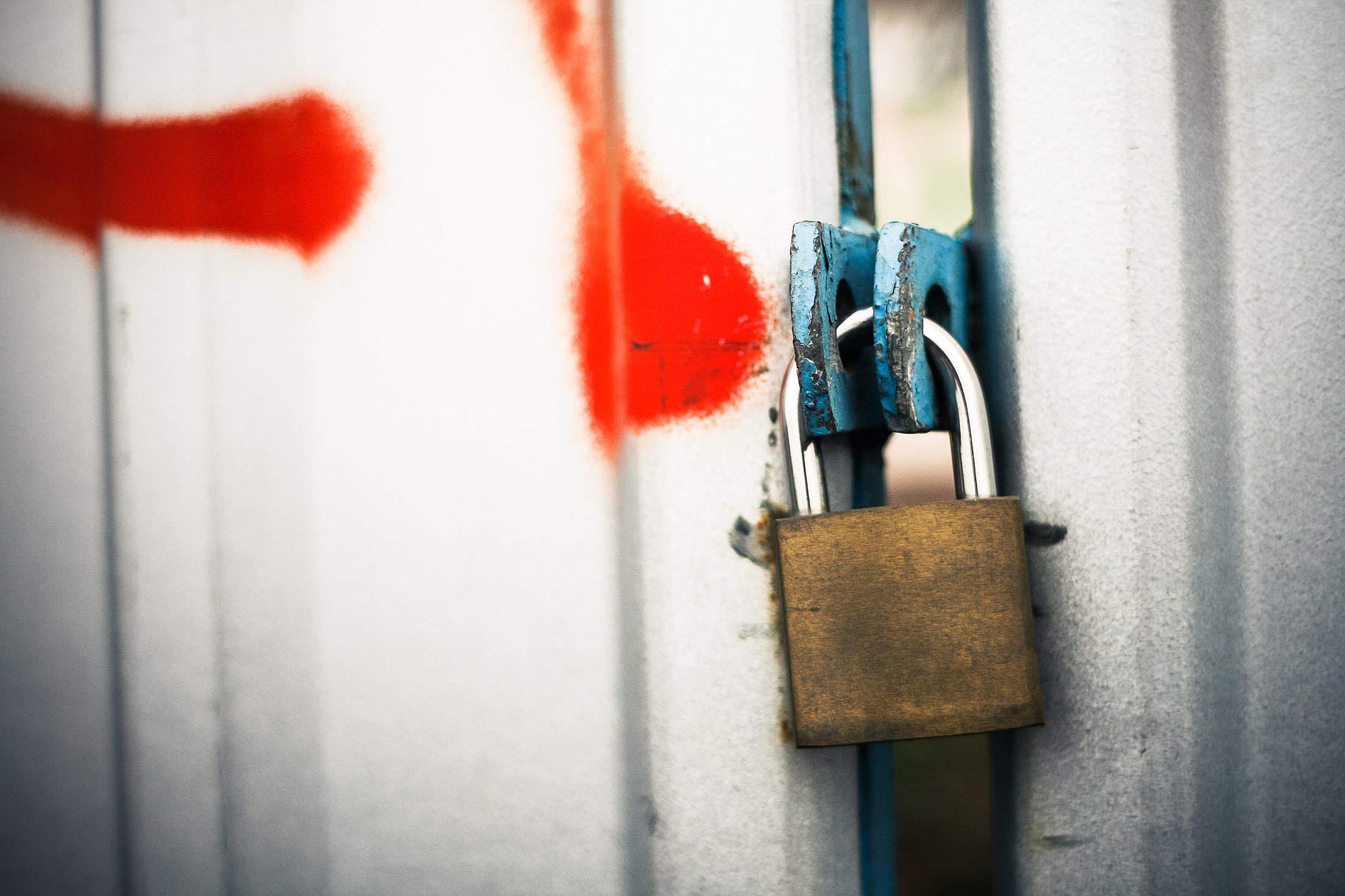 Locked Steel Gate Free Stock Photo