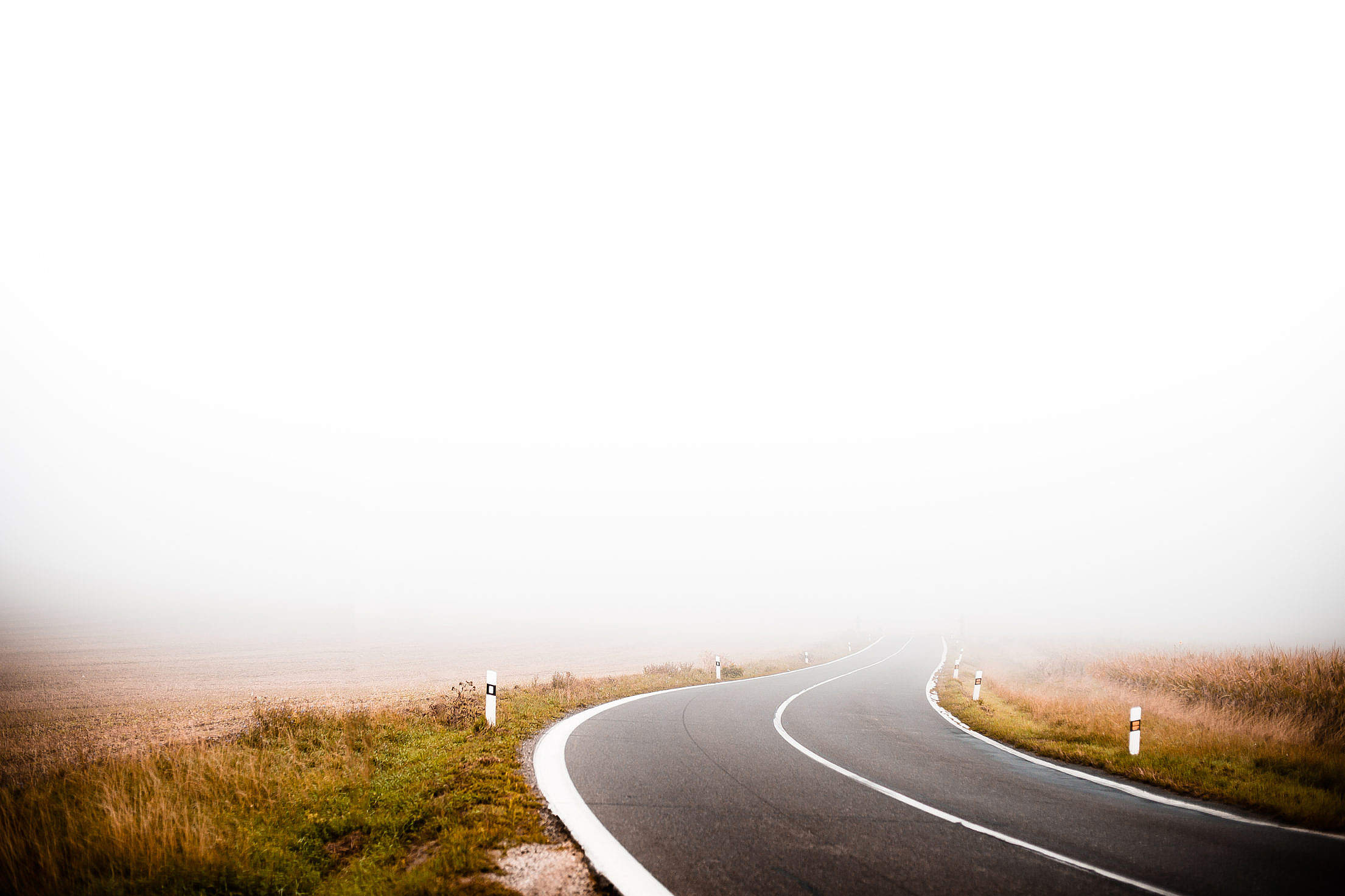 Lonely Foggy Road Free Stock Photo