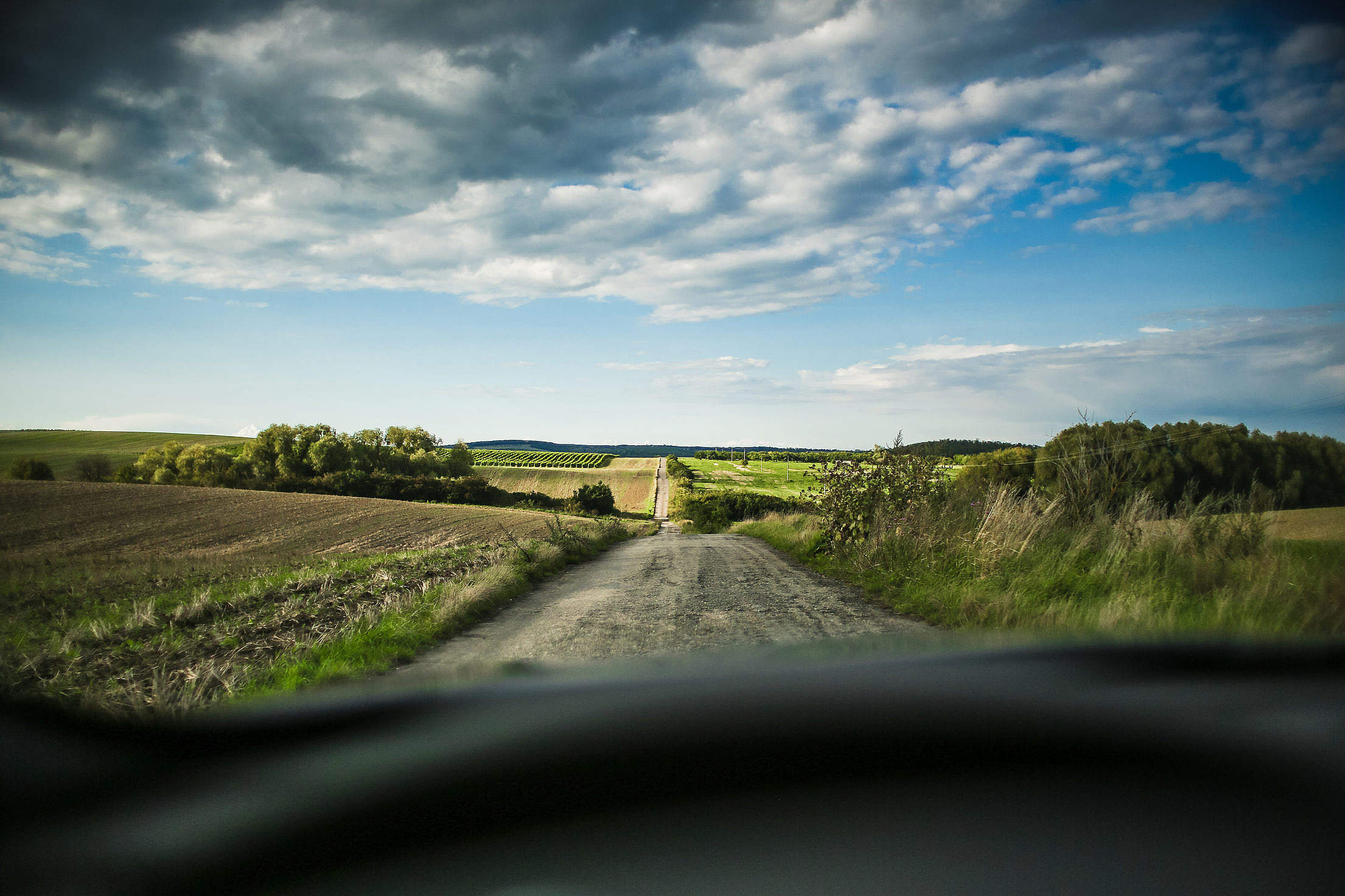 Lonely Road In The Middle Of Fields Free Stock Photo