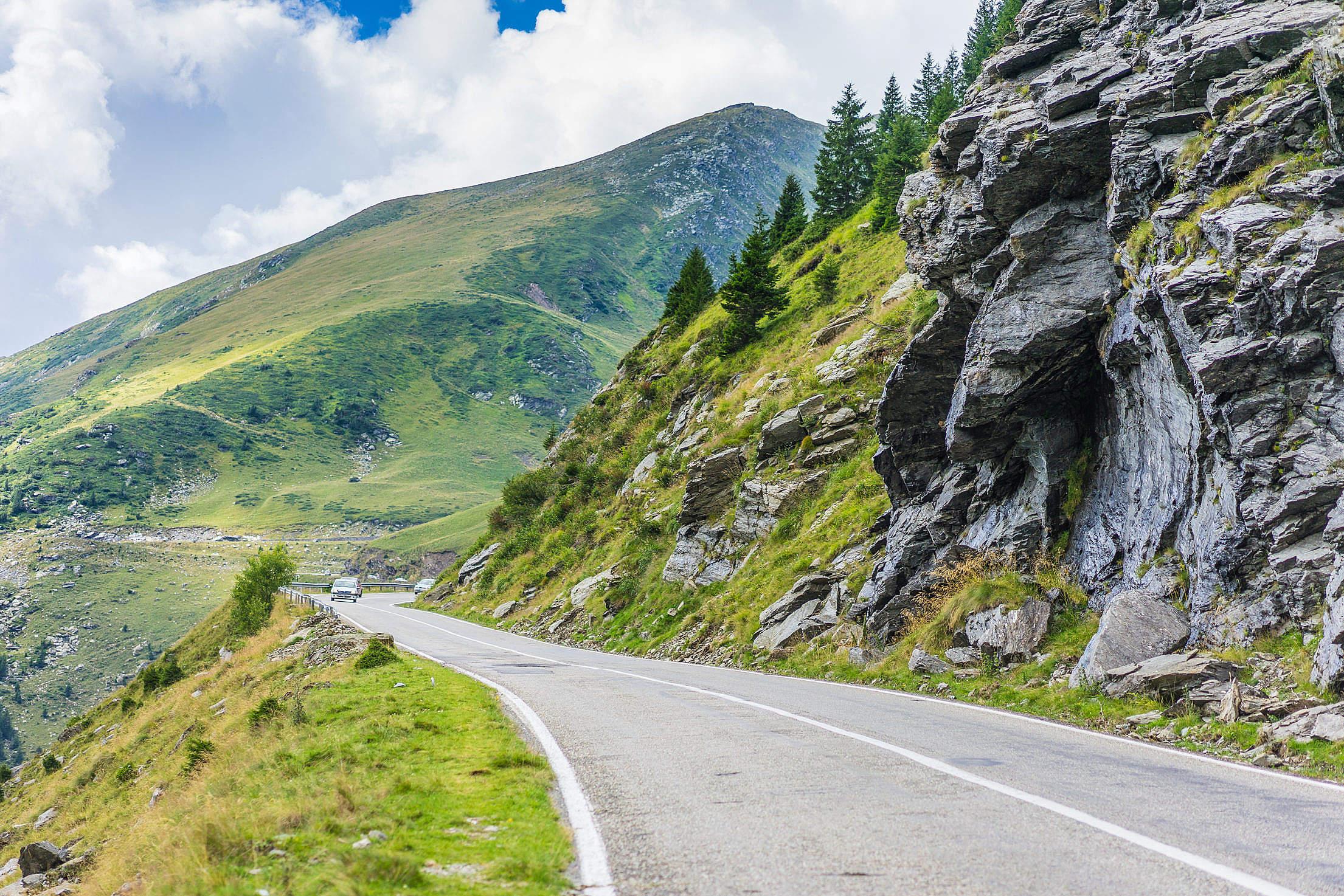 Long Road Along Romanian Mountains and Rocks Free Stock Photo