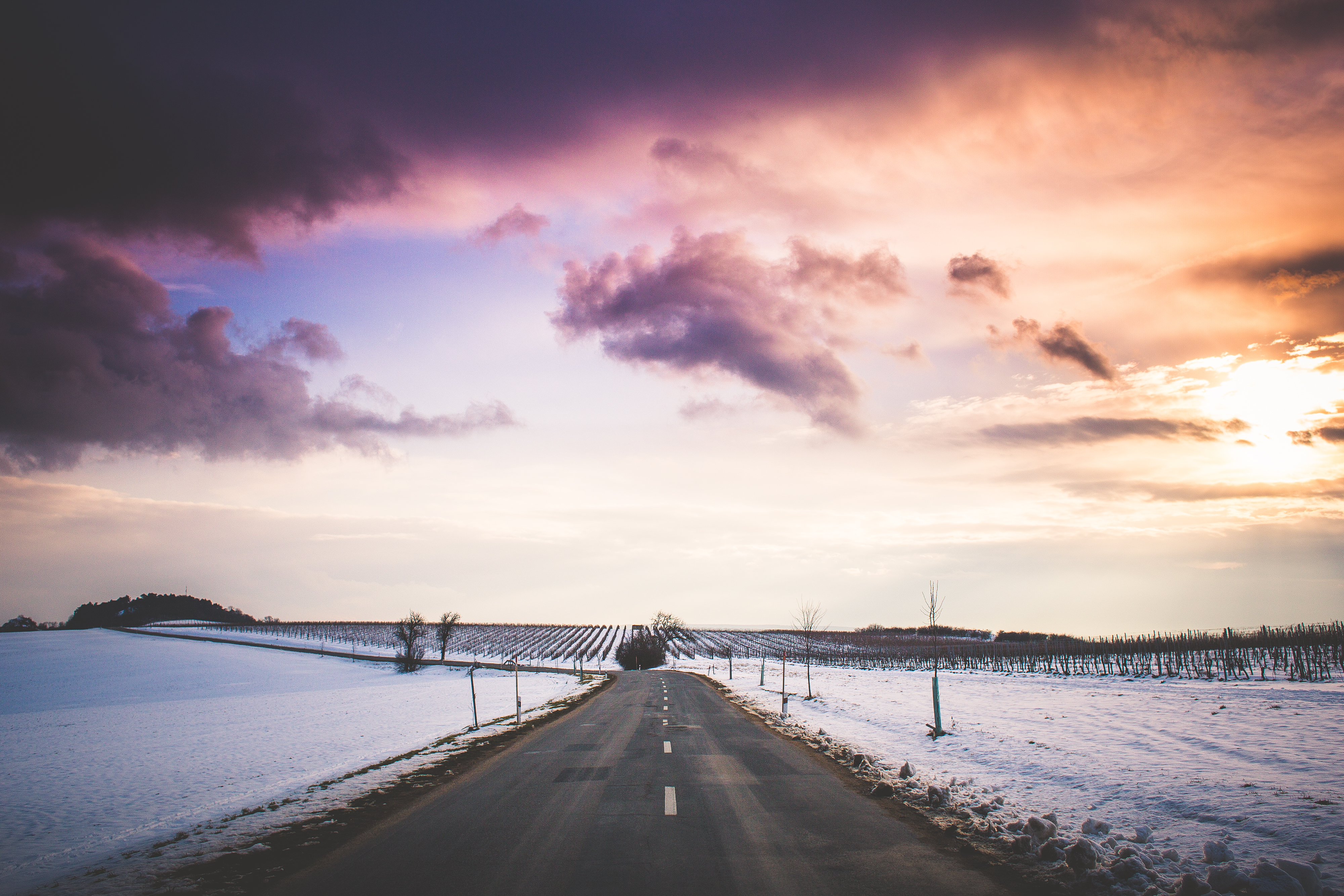 Download Long Road with Colorful Sunset FREE Stock Photo