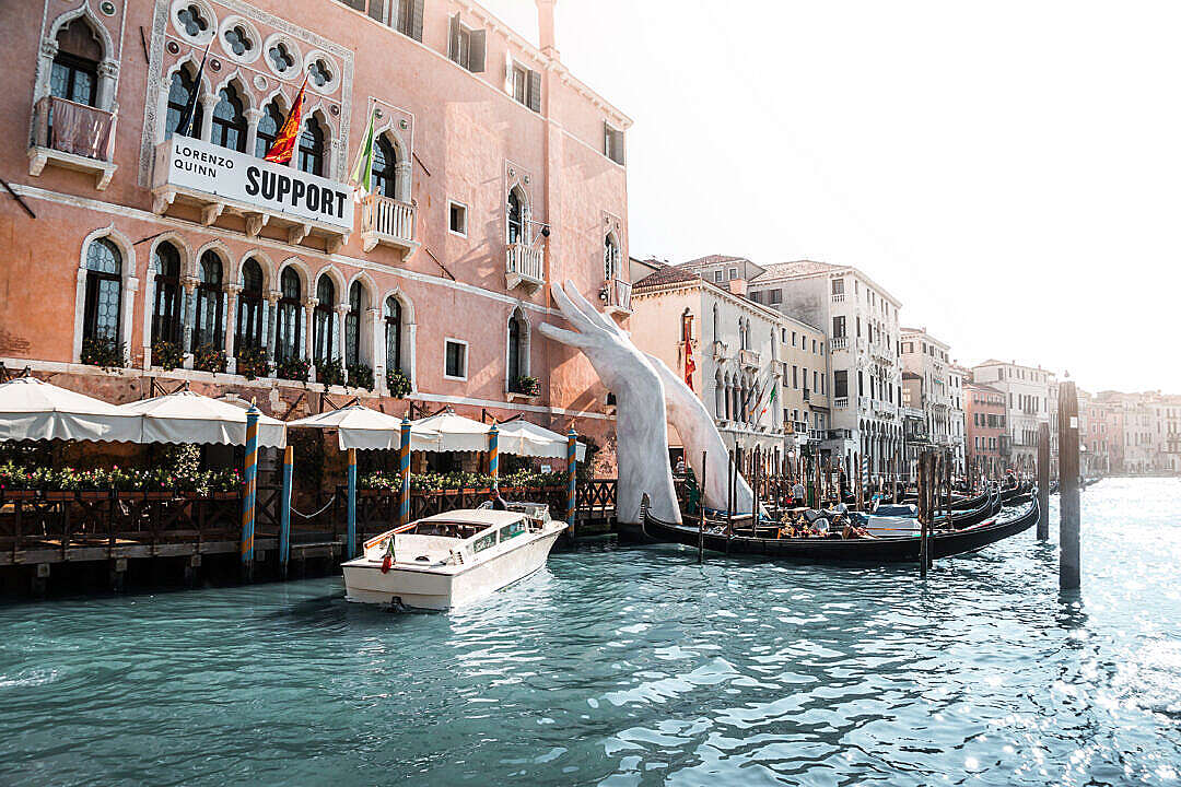 Download Lorenzo Quinn Support Venice FREE Stock Photo