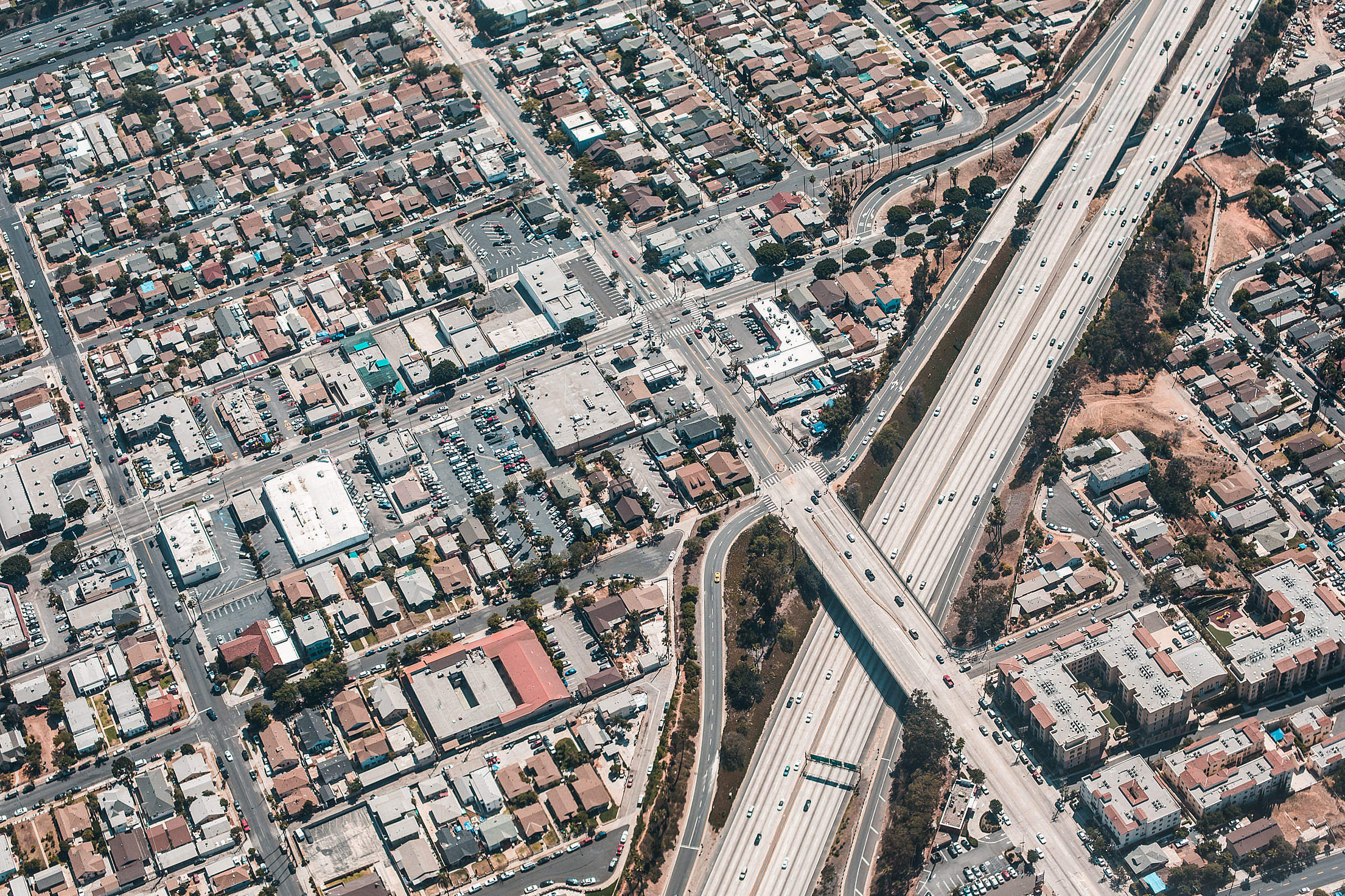 Los Angeles Streets from Above Aerial Shot Free Stock Photo