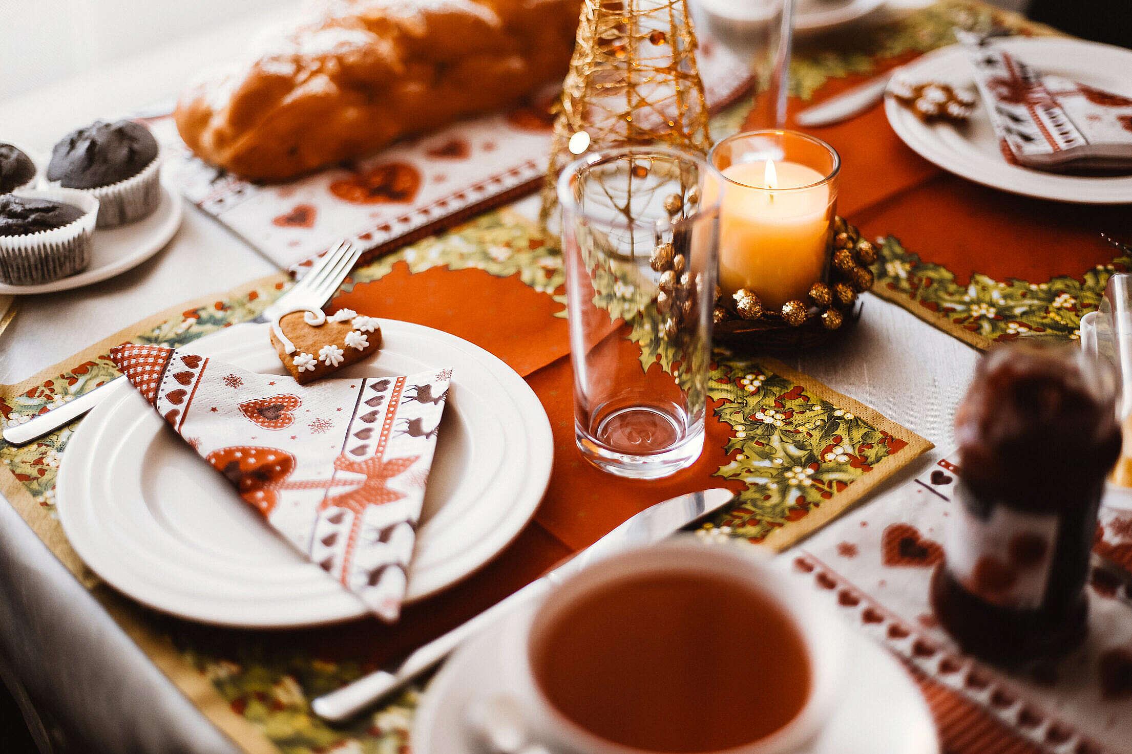 Lovely Christmas Morning Breakfast Free Stock Photo