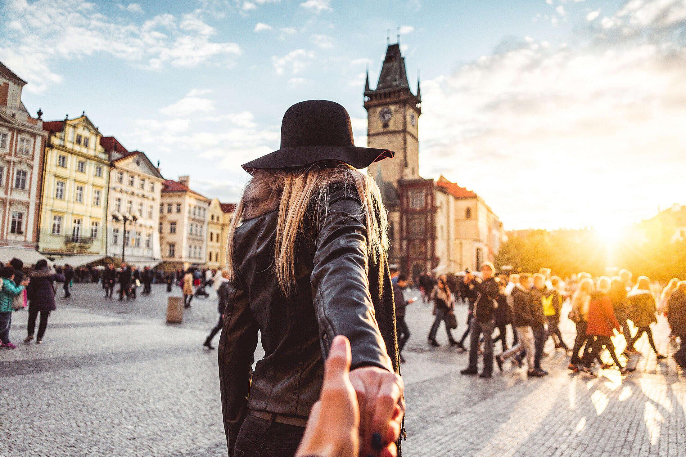 Loving Couple in Autumn Prague Follow Me To Pose Free Stock Photo