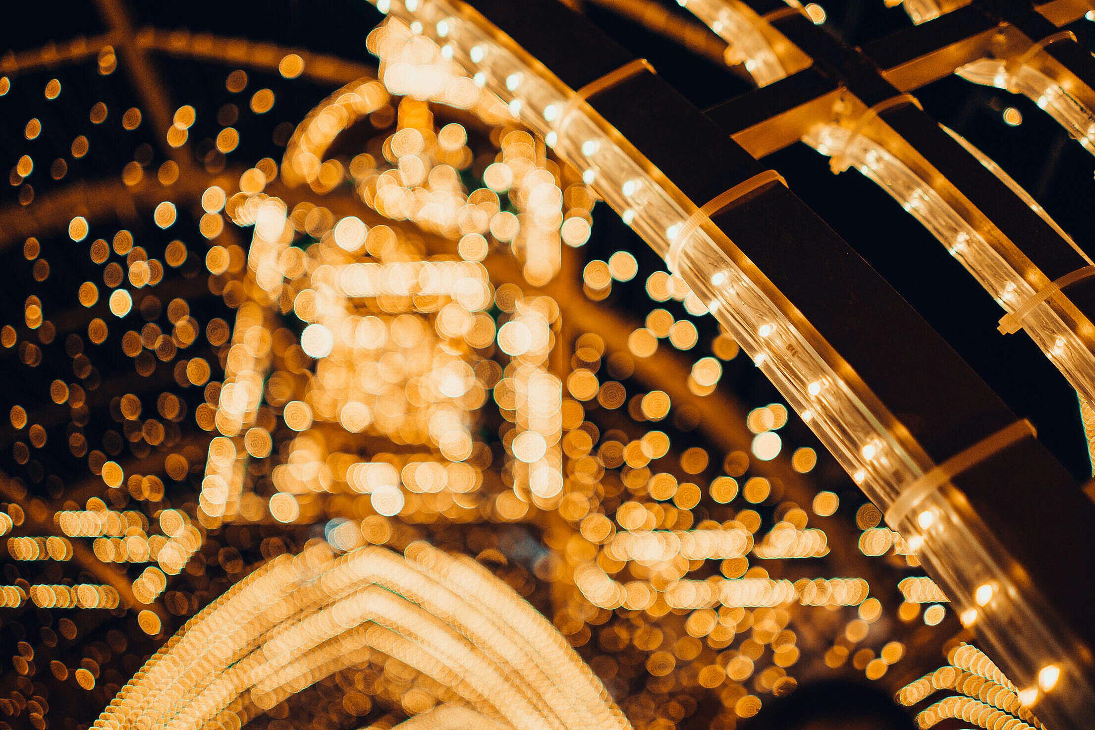 Luminous Decorations on Christmas Market Free Stock Photo