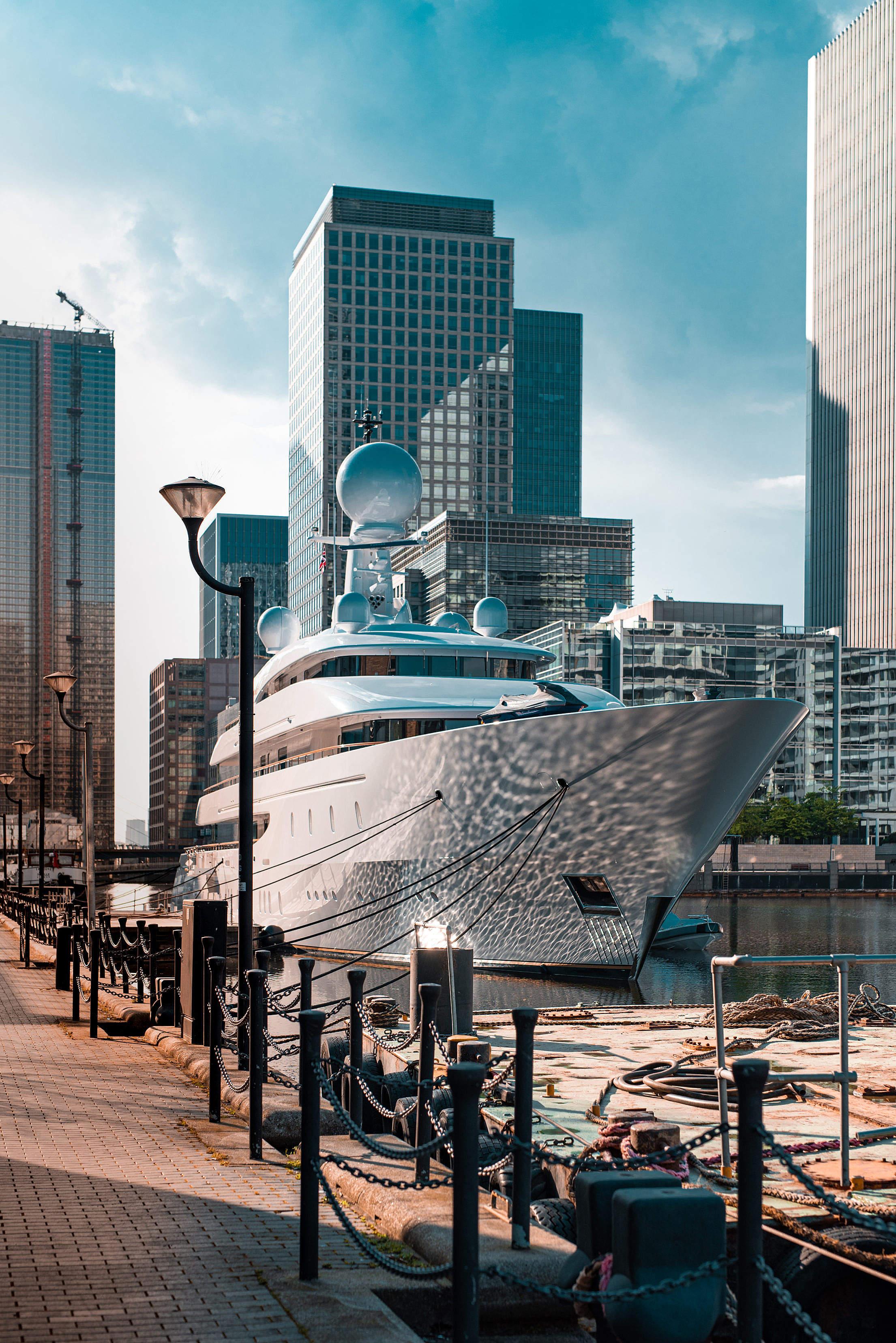 Luxury Mega Yacht in London Harbor Free Stock Photo
