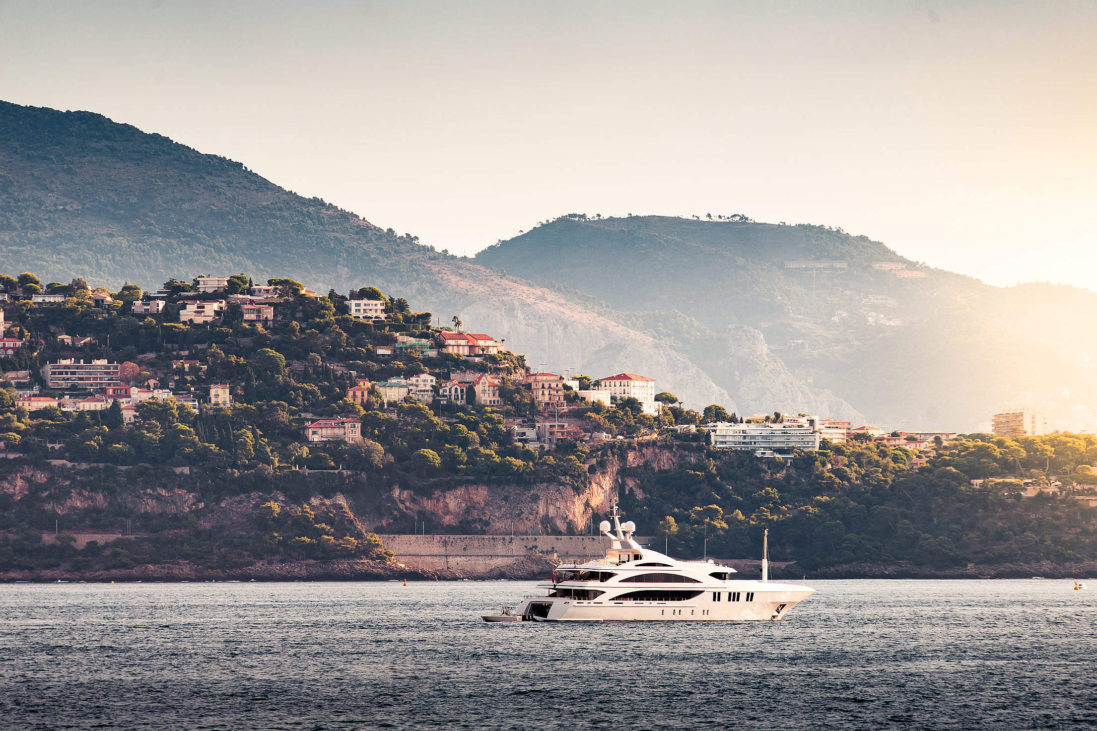 Luxury Yacht Cruising in The Bay Free Stock Photo