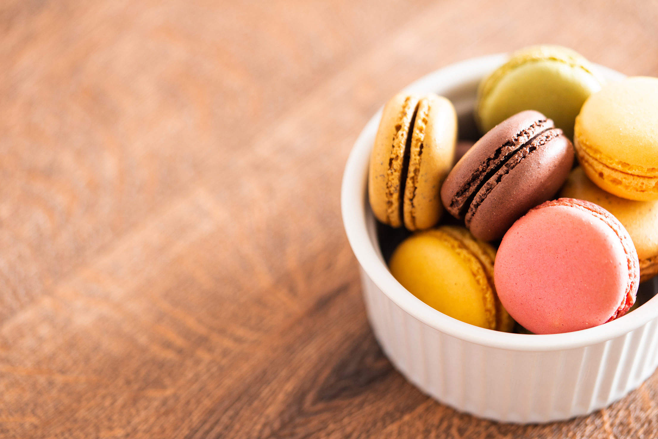 Macarons in a Bowl Place for Text Free Stock Photo
