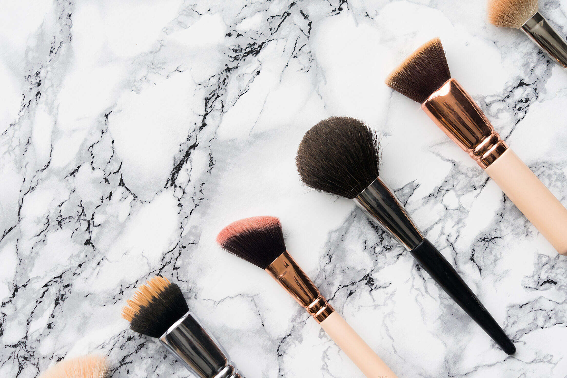 Makeup Brushes with Place for Text Free Stock Photo