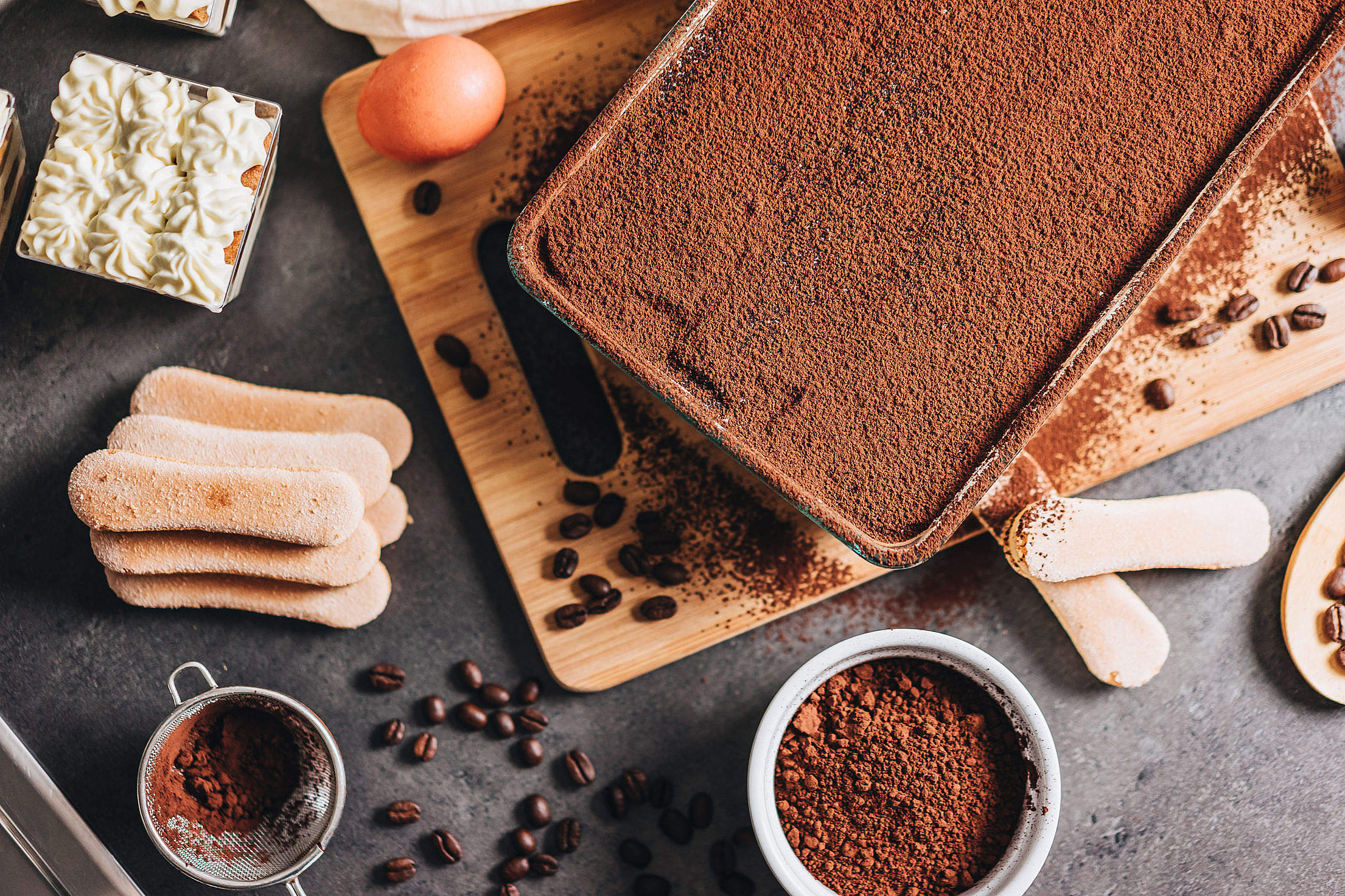 Making Tiramisu Dessert Free Stock Photo