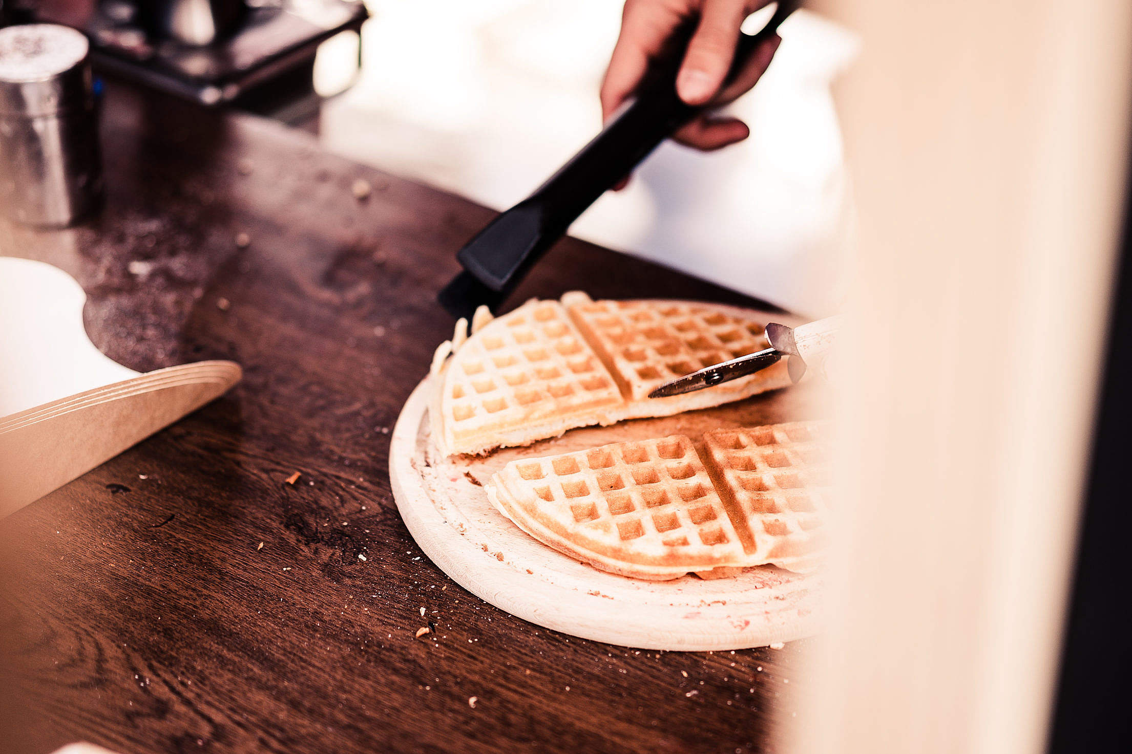 Making Waffles Cutting Them into Pieces Free Stock Photo