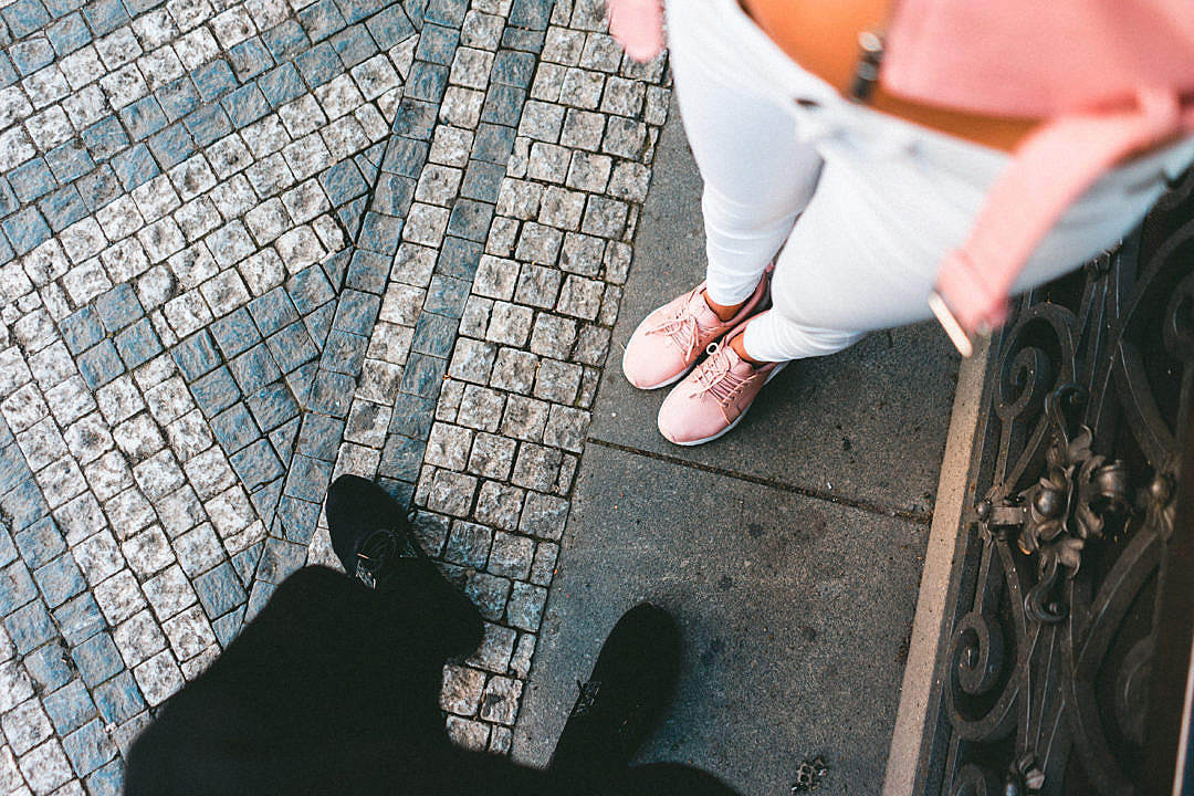 Download Man and Woman Wearing Sneakers FREE Stock Photo
