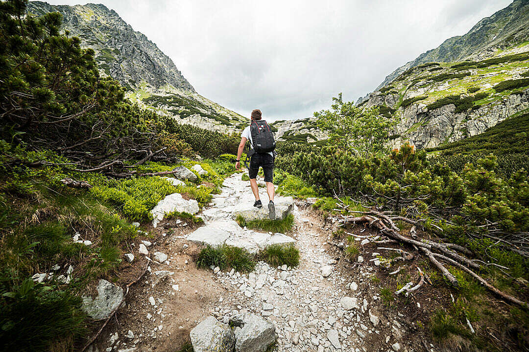 Download Man Hiking Alone in Mountains FREE Stock Photo