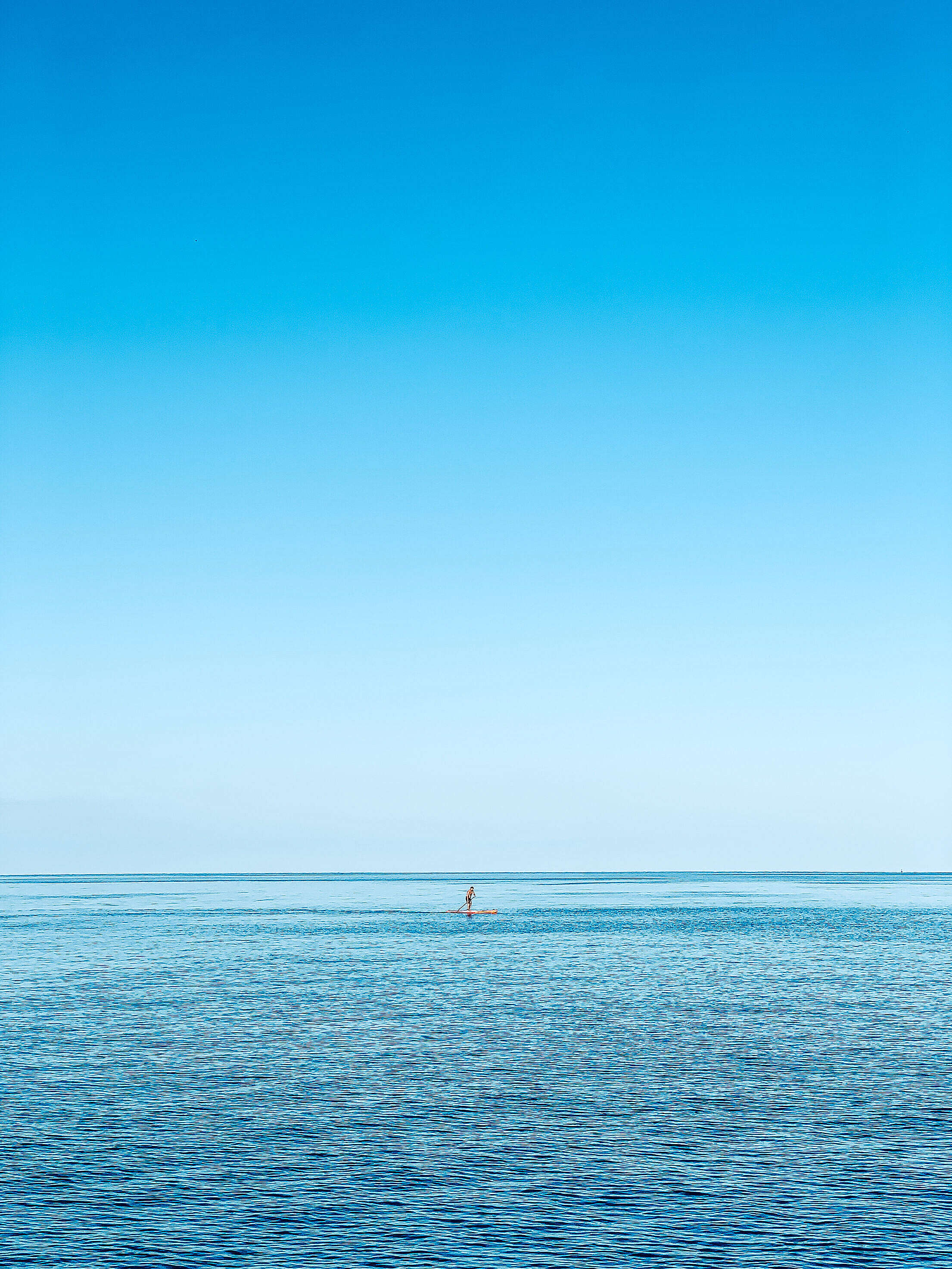 Man on a Paddleboard on the Open Sea Free Stock Photo