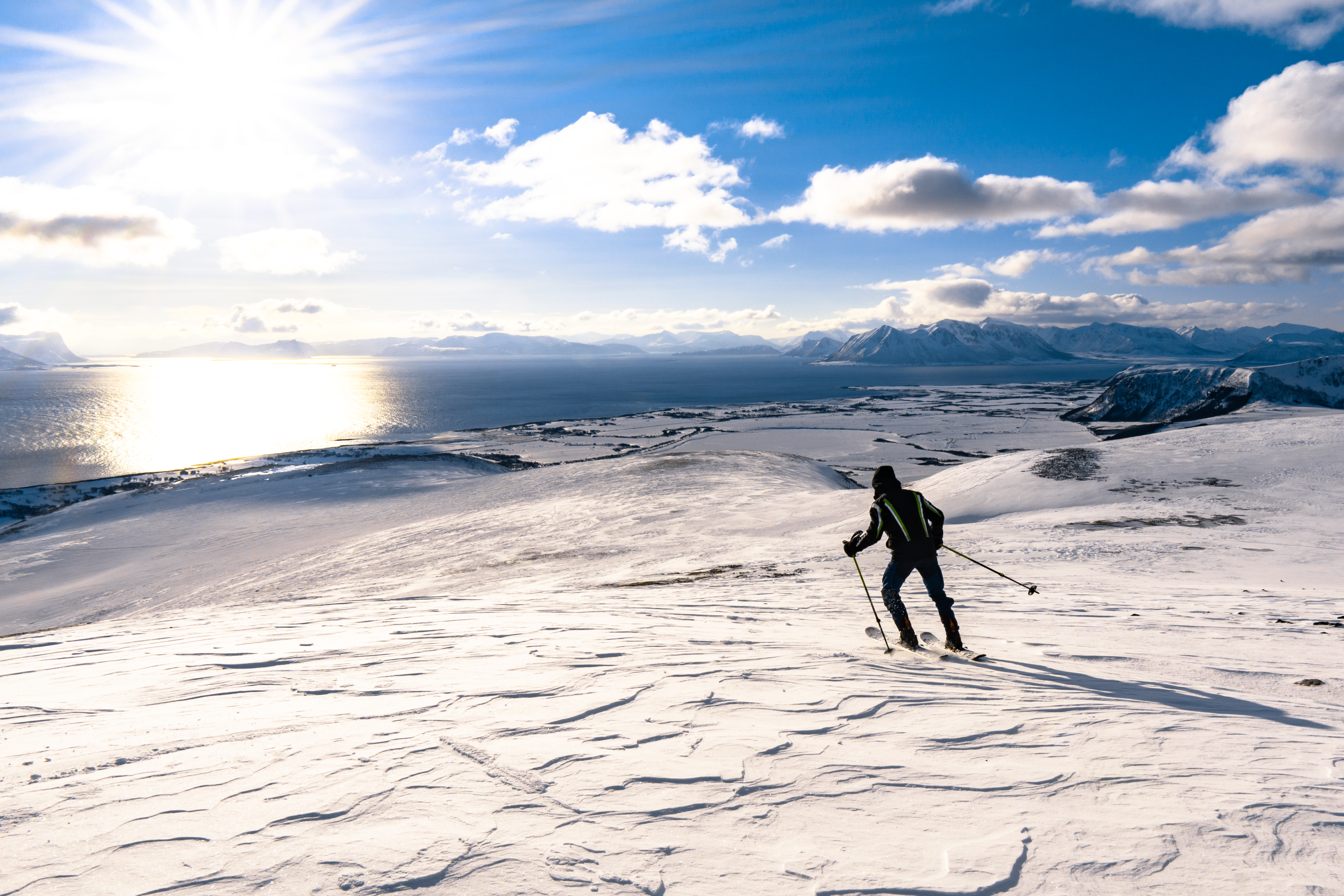 Man Skiing on Snowy Mountains of Norway Free Stock Photo