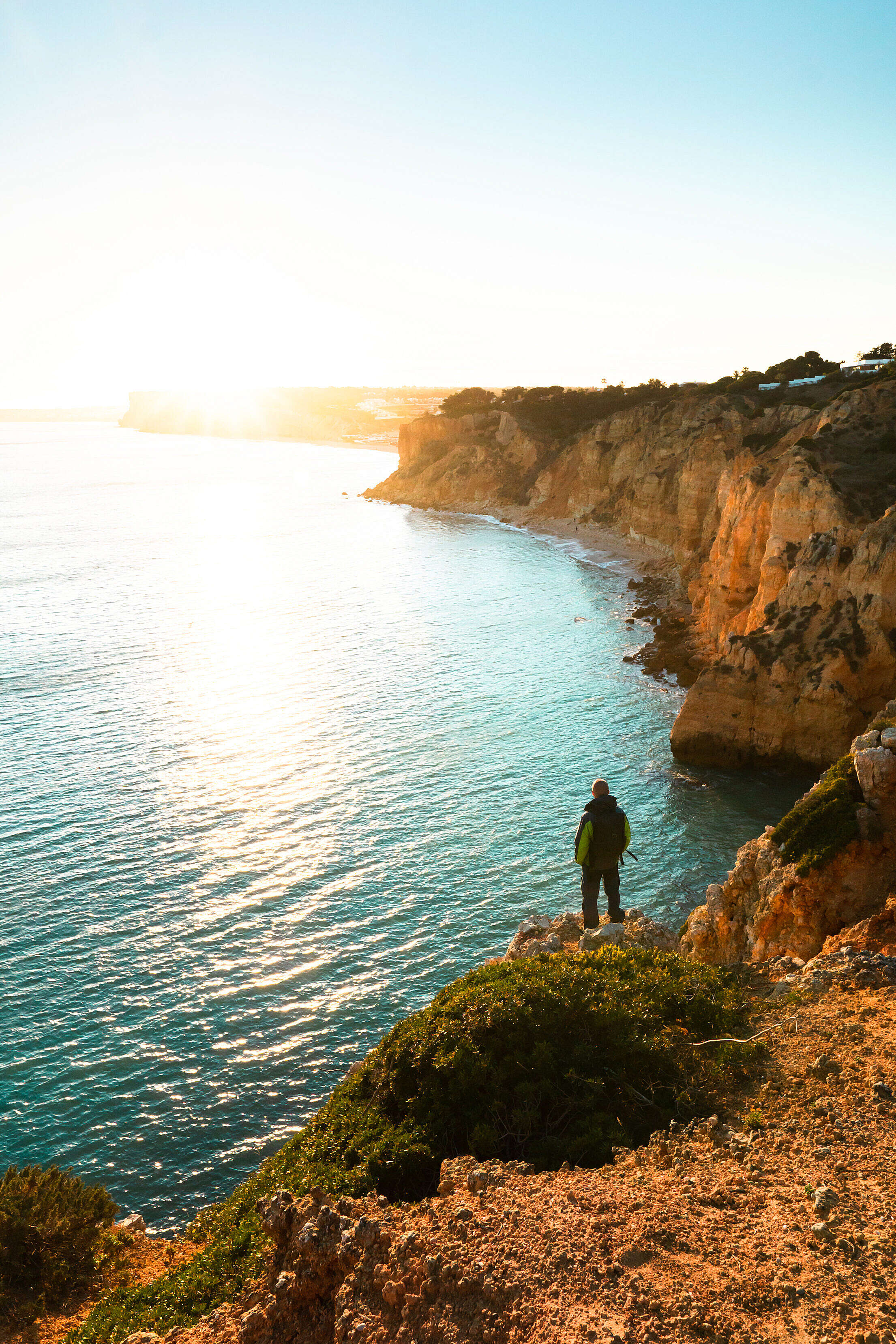 Man Watching Sunset in Southern Portugal Free Stock Photo