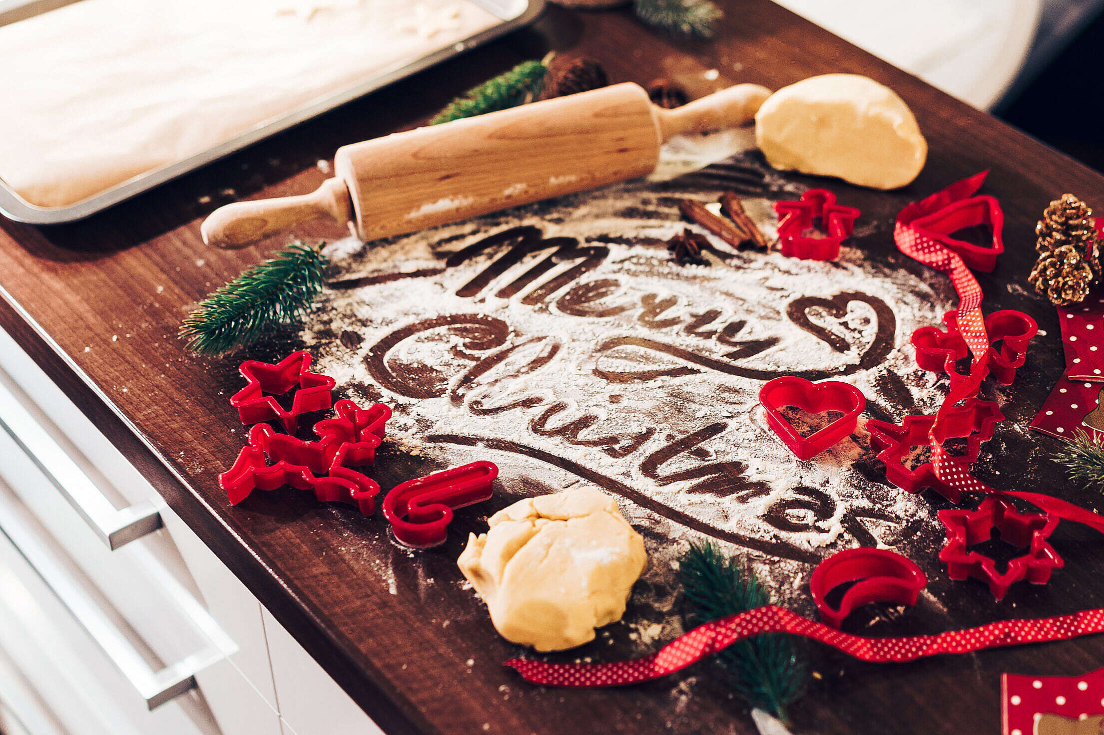 Merry Christmas Food Lettering in Flour Free Stock Photo