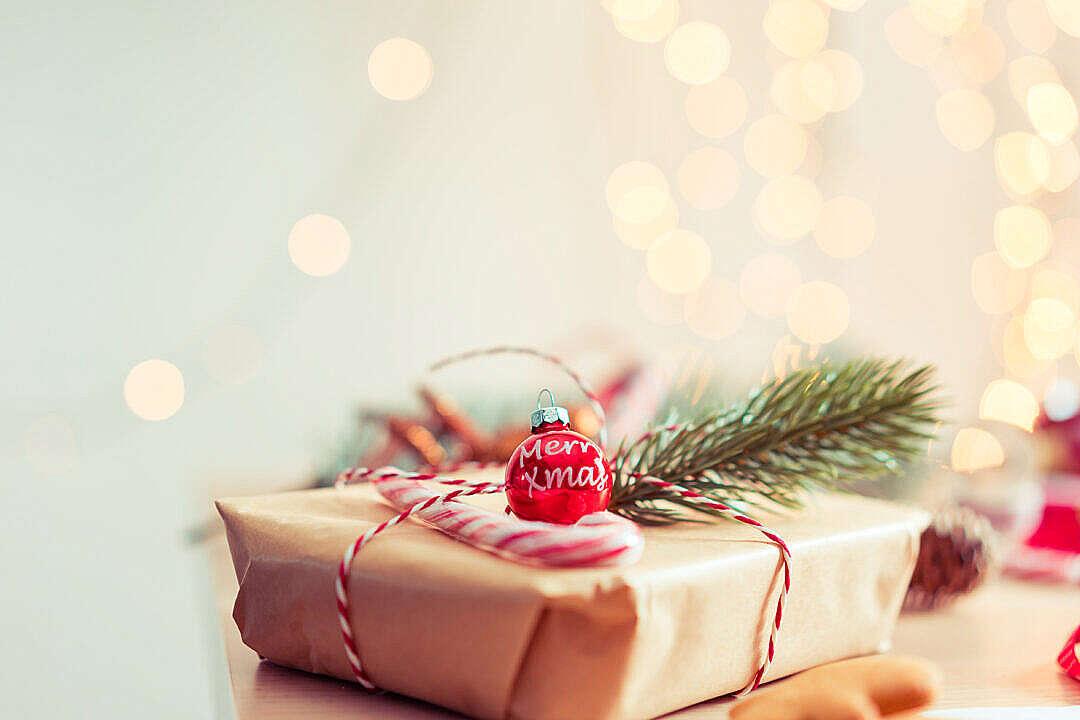 Download Merry Xmas Tree Decoration on Christmas Present FREE Stock Photo