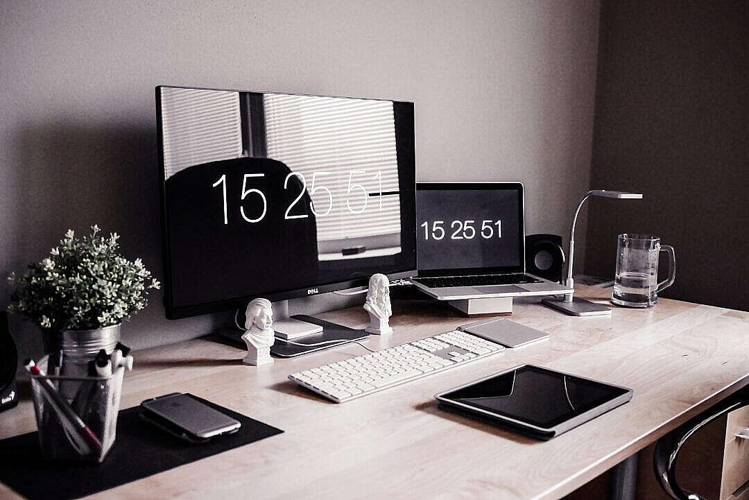 Download Minimalist Home Office Workspace Desk Setup FREE Stock Photo