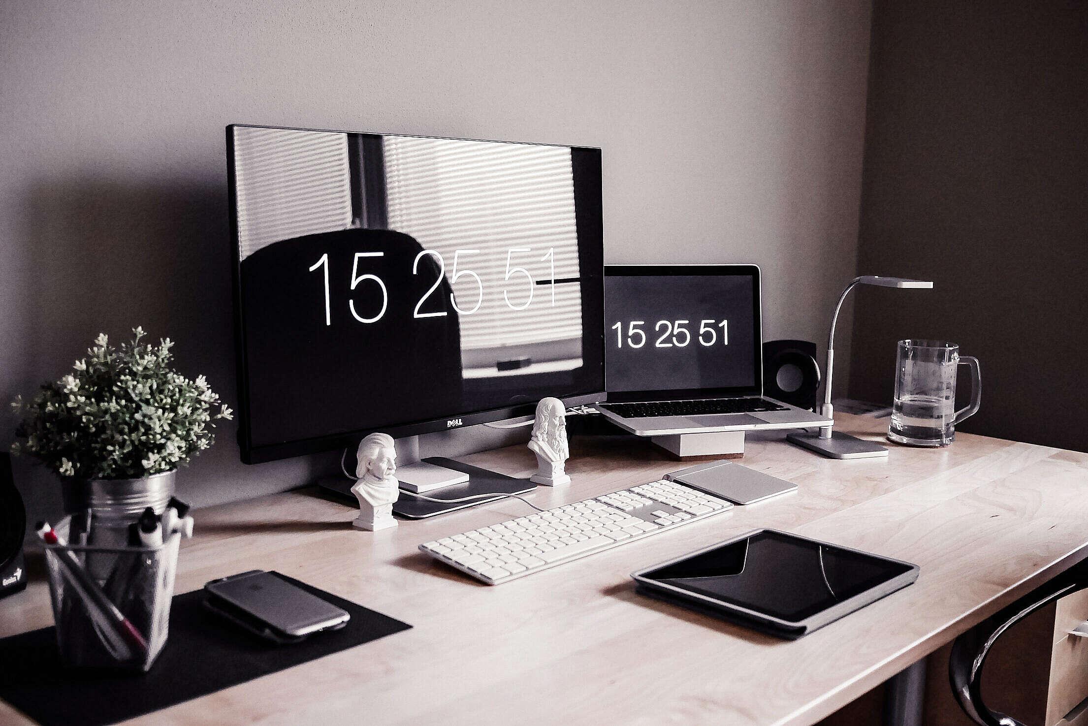 Minimalist Home Office Workspace Desk Setup Free Stock Photo