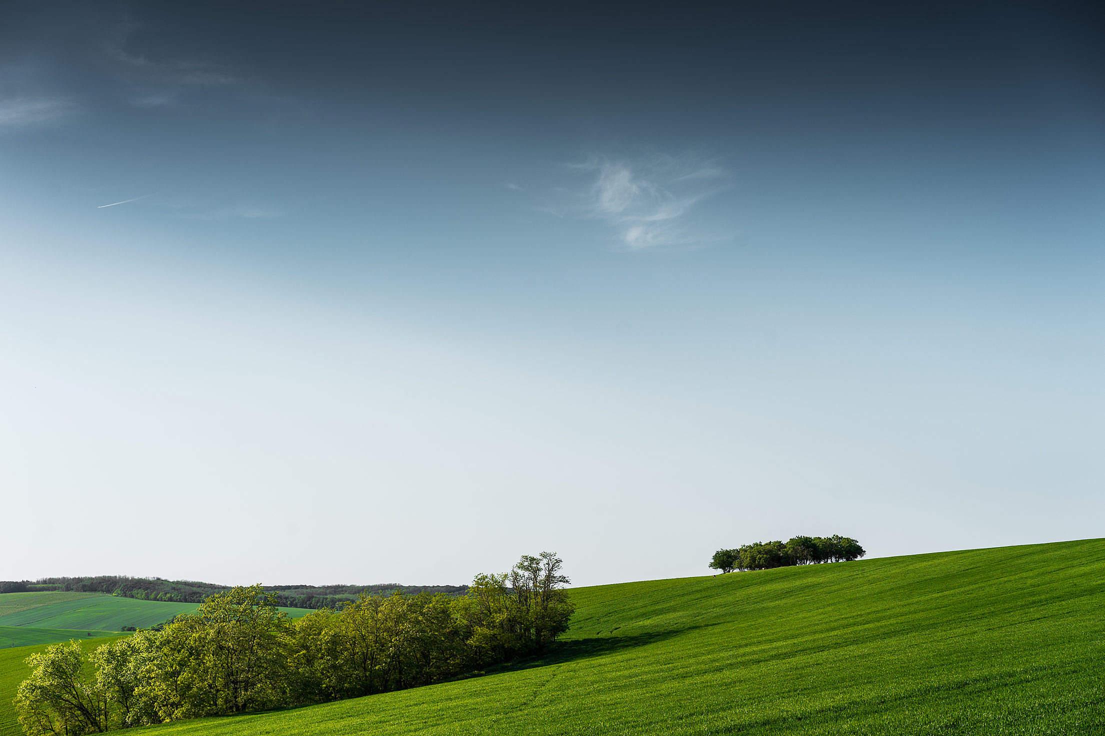 Minimalistic Green Scenery with Blue Sky Free Stock Photo