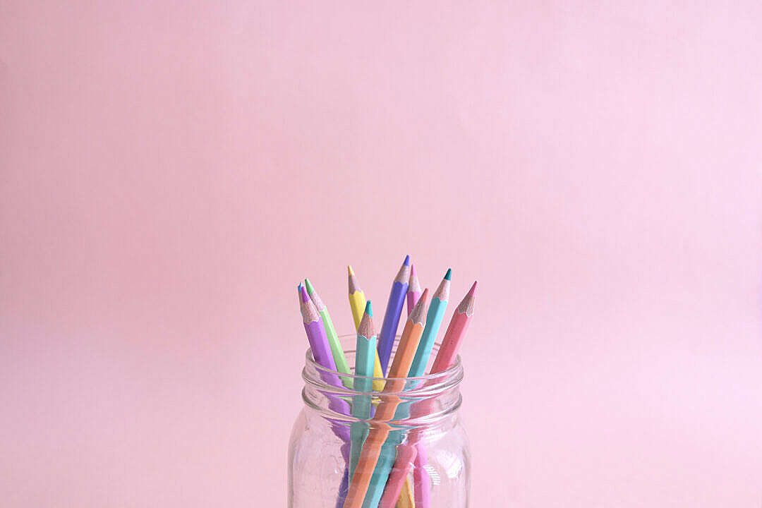 Download Mixed Color Pencils Pastel Colors FREE Stock Photo