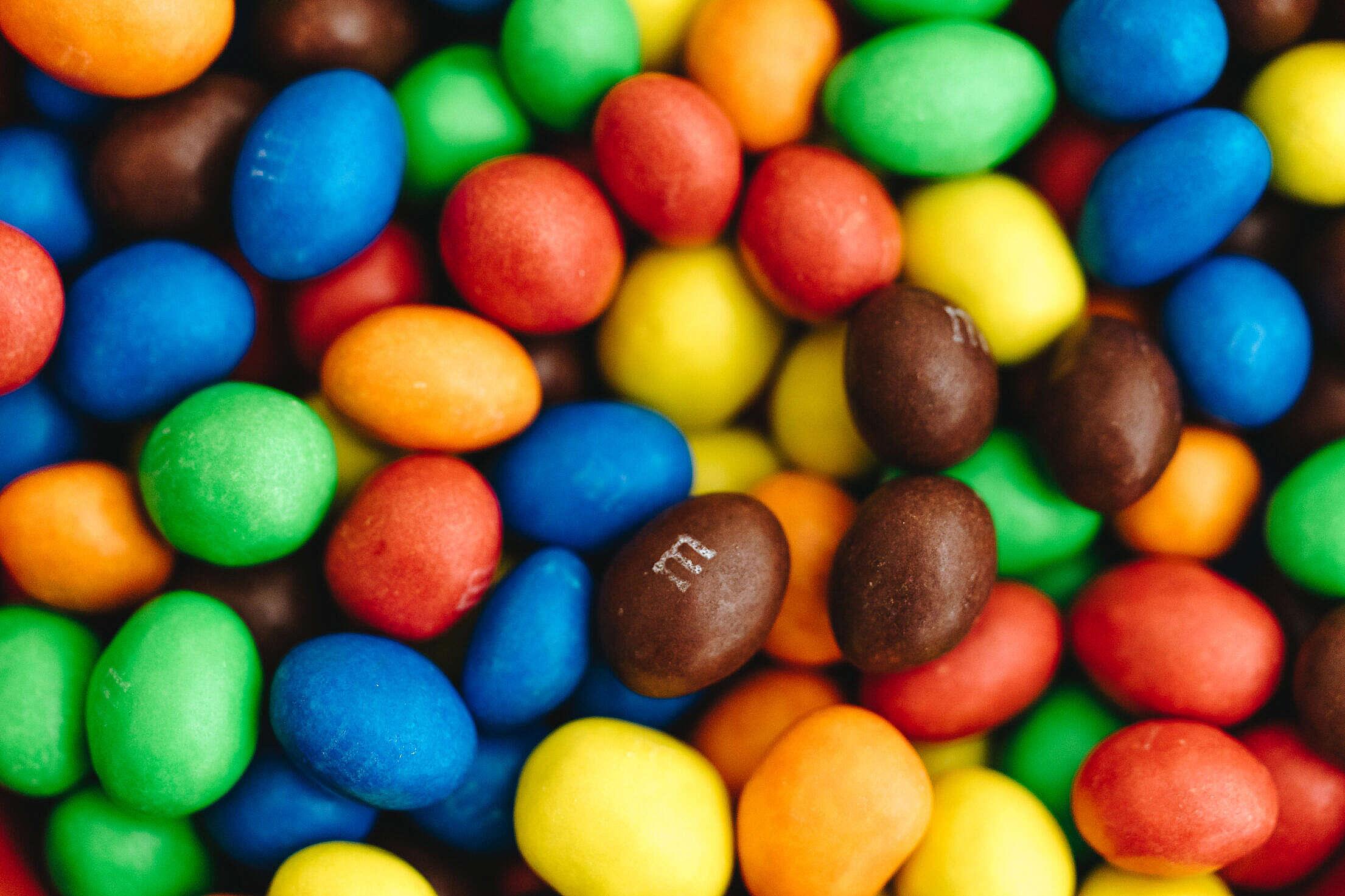 M&M's Peanut Chocolates Backgrounds Free Stock Photo