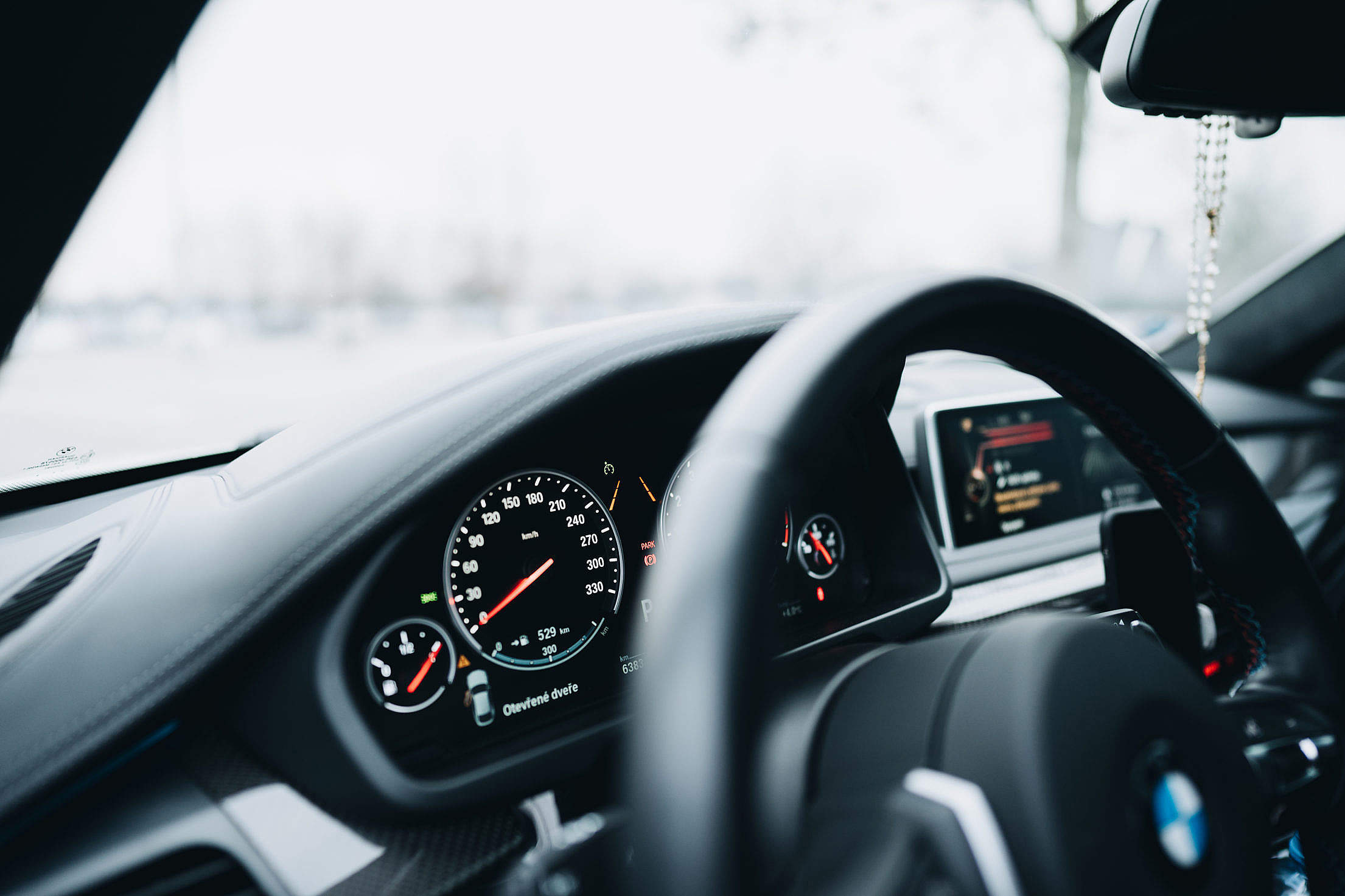 Modern Car Dashboard Speedometer Free Stock Photo