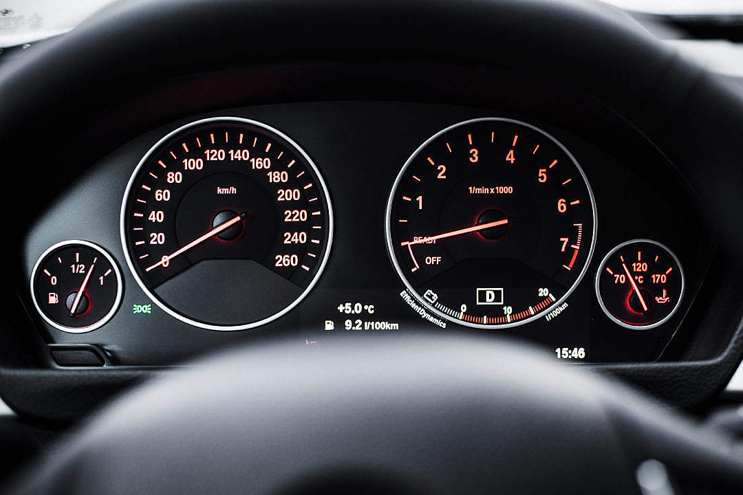 Download Modern Car Dashboard with Speedometer and Tachometer FREE Stock Photo