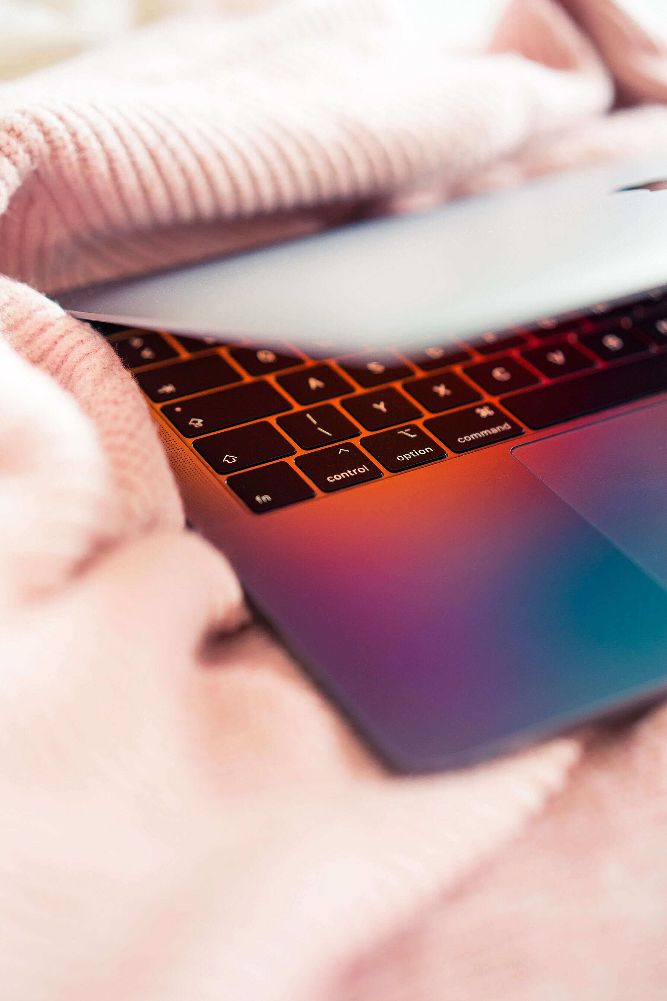 Modern Laptop in Women's Bed Free Stock Photo