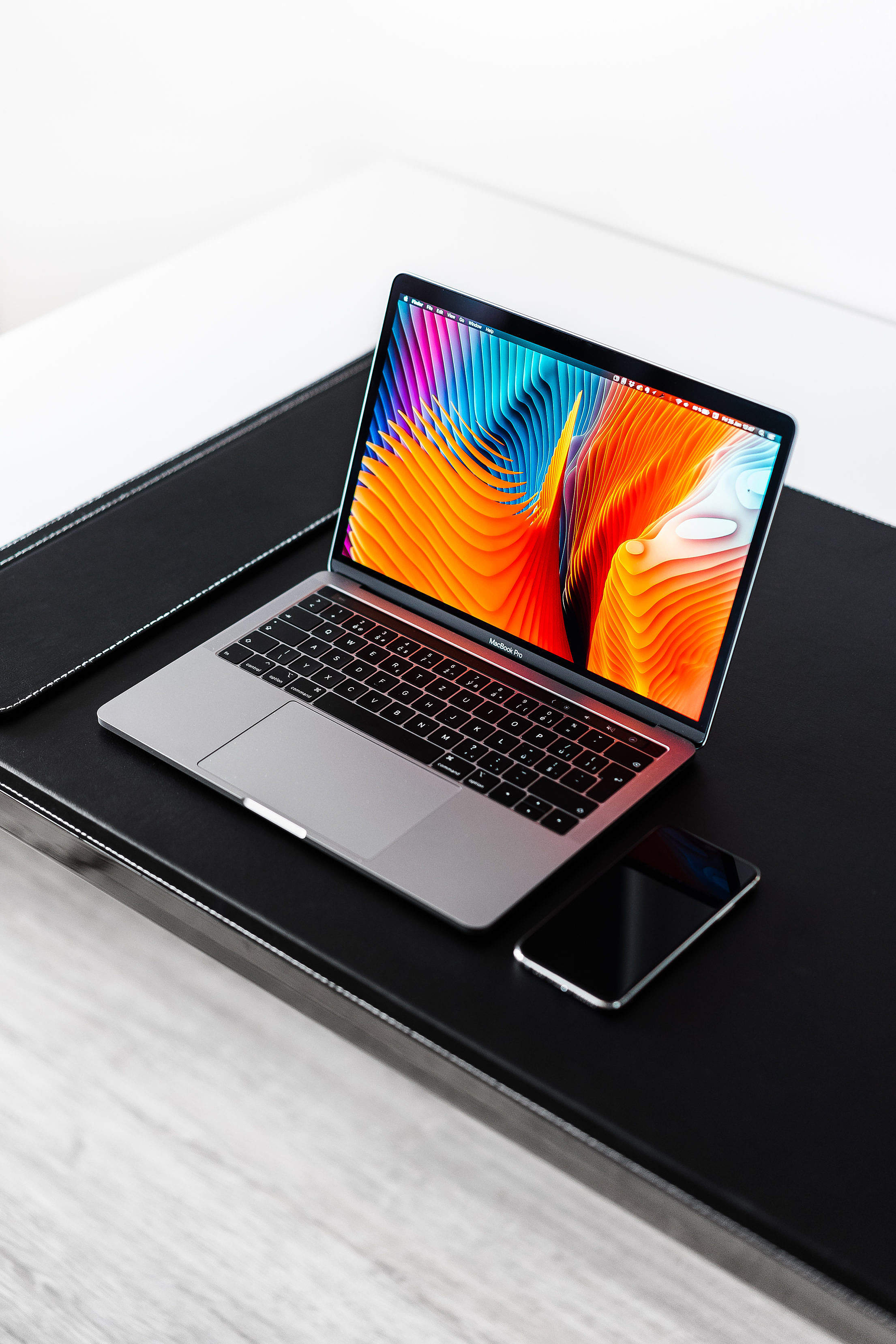Modern Laptop MacBook Pro Mockup Vertical Free Stock Photo