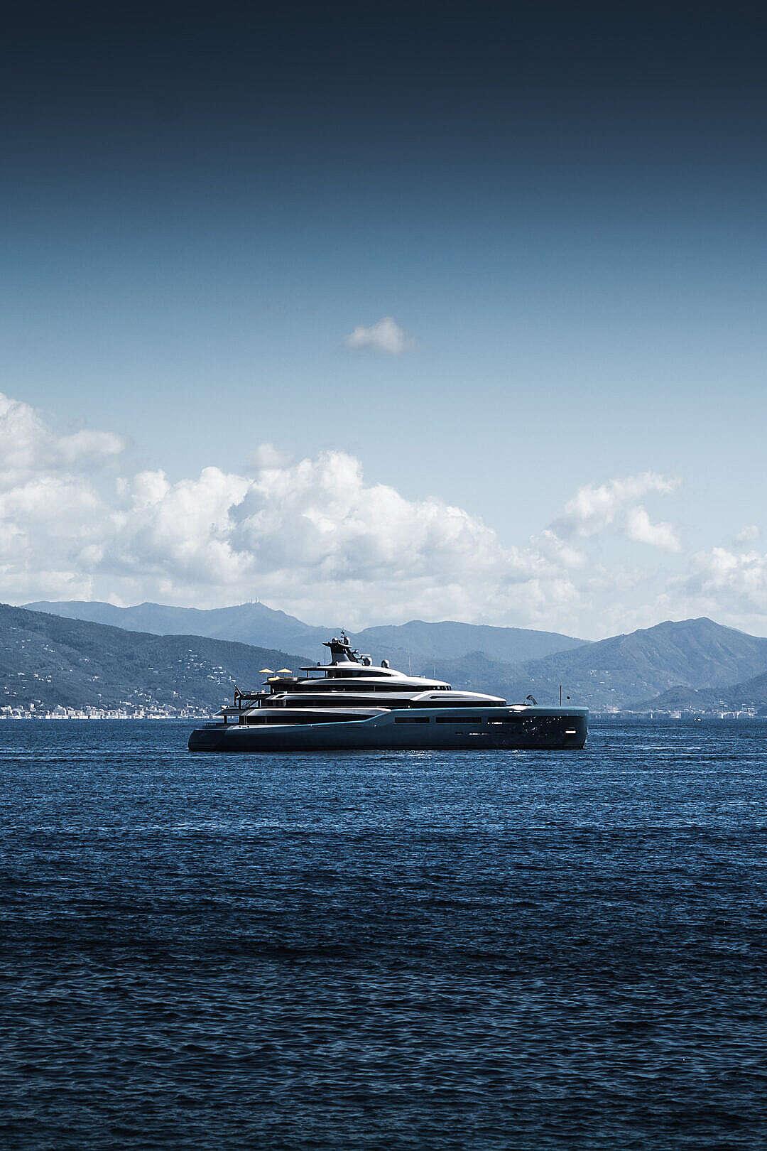 Download Modern Luxury Yacht Aviva Sailing around Portofino FREE Stock Photo