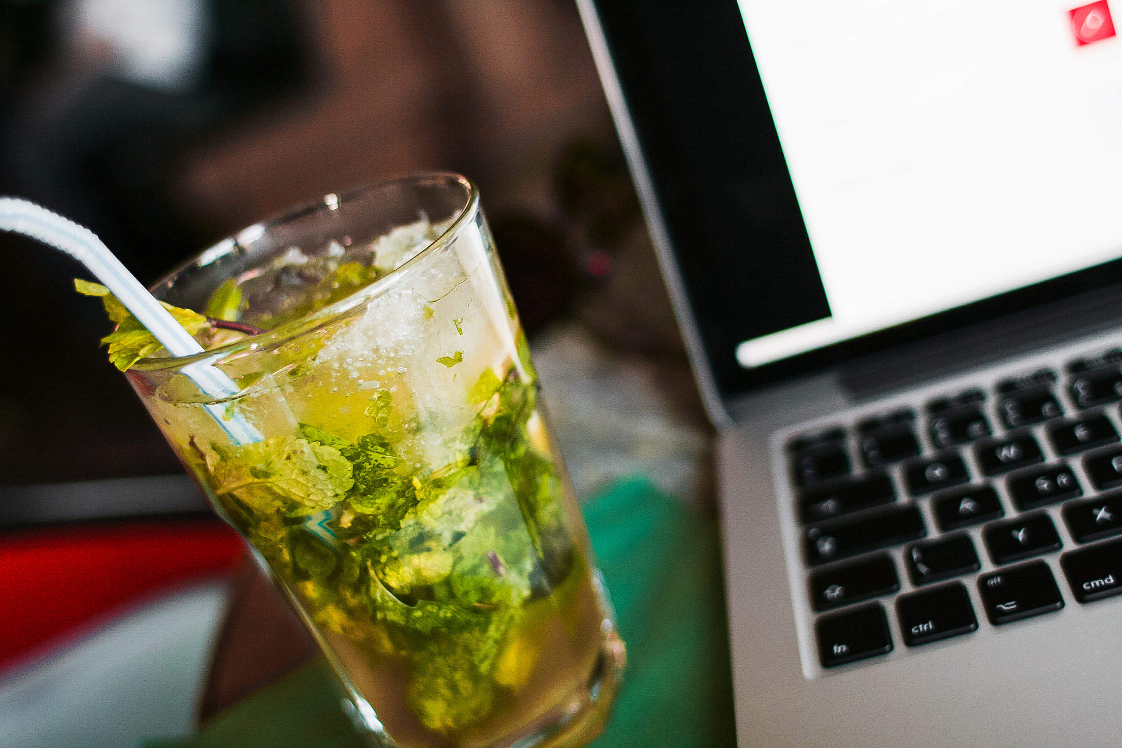 Download Mojito with a Laptop Free Stock Photo