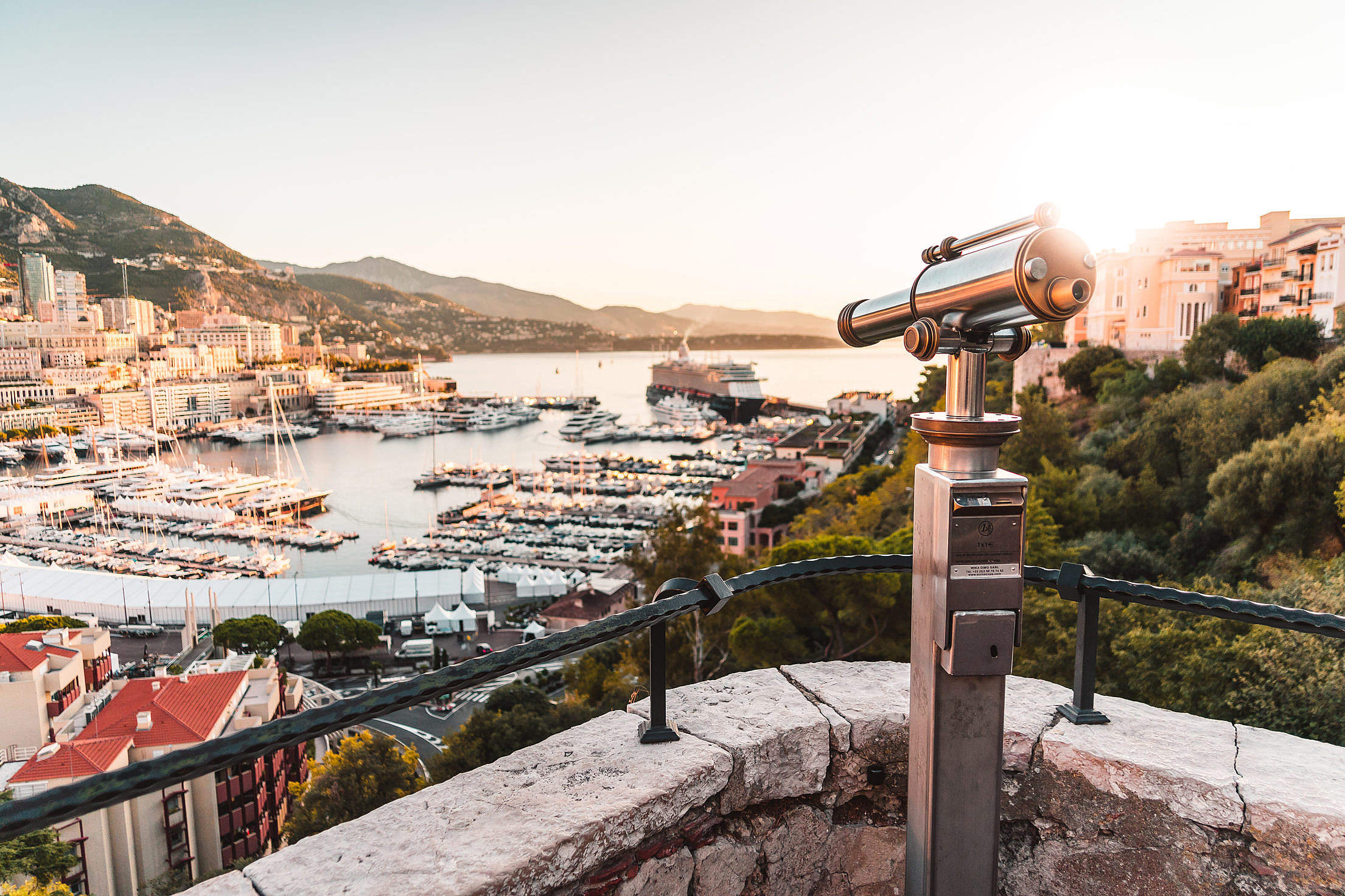 Monaco Viewpoint with Binoculars Telescope Free Stock Photo