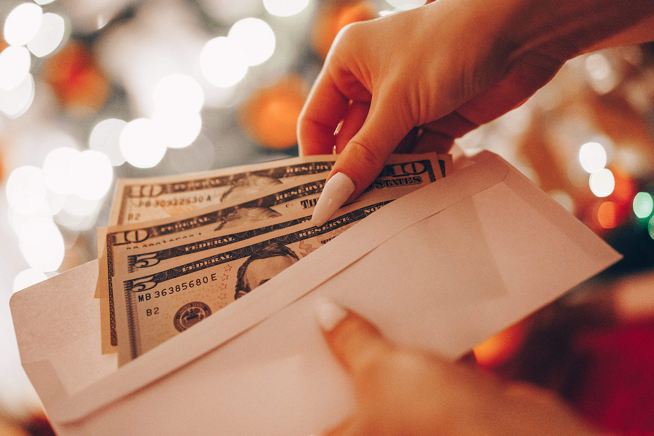 Money Gift Christmas Present Free Stock Photo