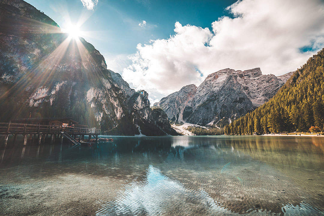 Download Morning at Lago di Braies Pragser Wildsee Lake in Italy FREE Stock Photo