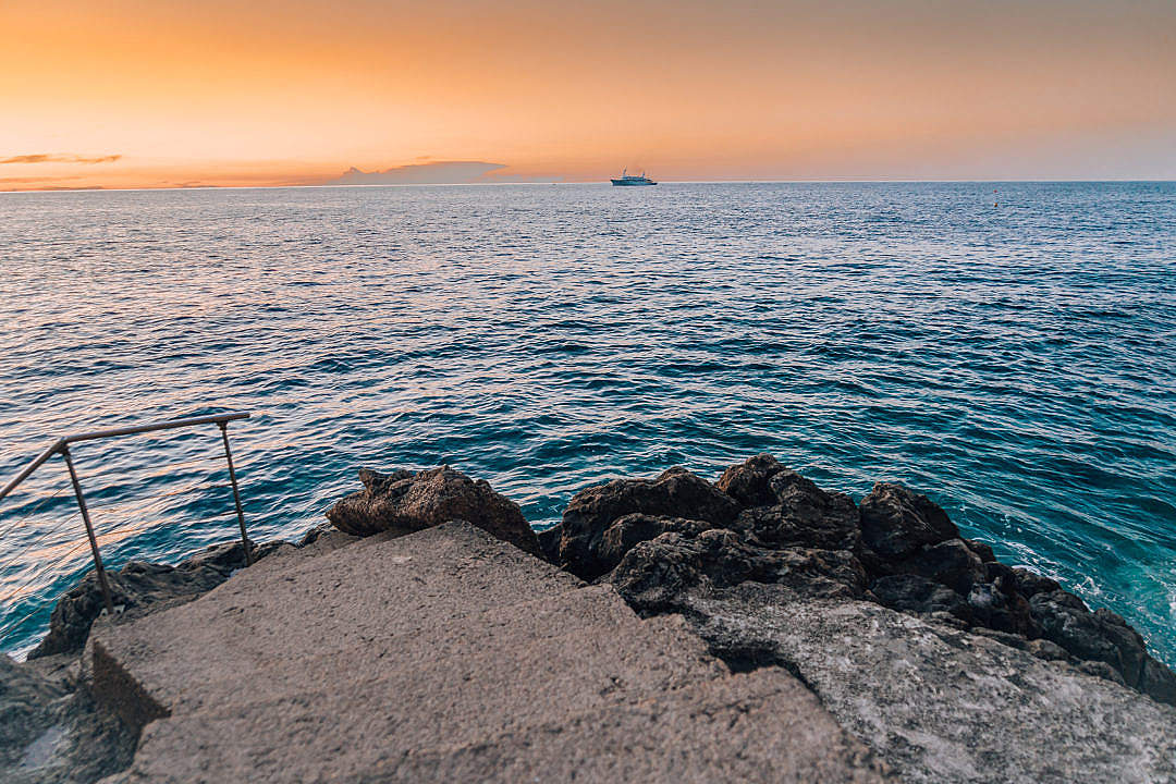 Download Morning Sea Horizon with a Boat FREE Stock Photo