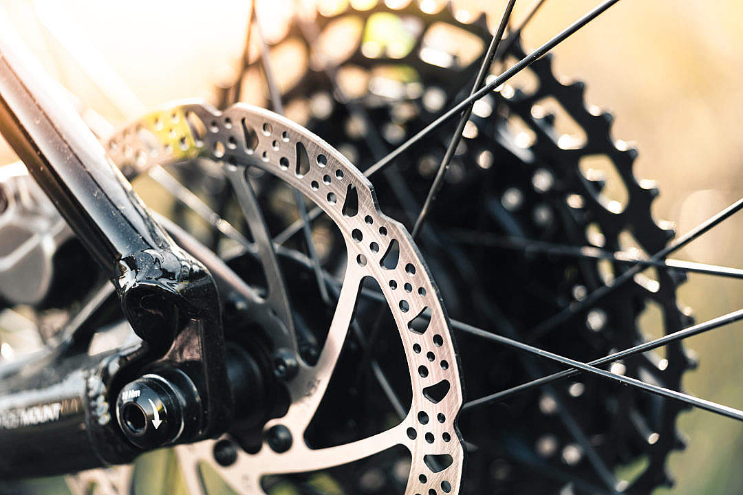 Download Mountain Bike Wheel with Disc Brake Close Up FREE Stock Photo