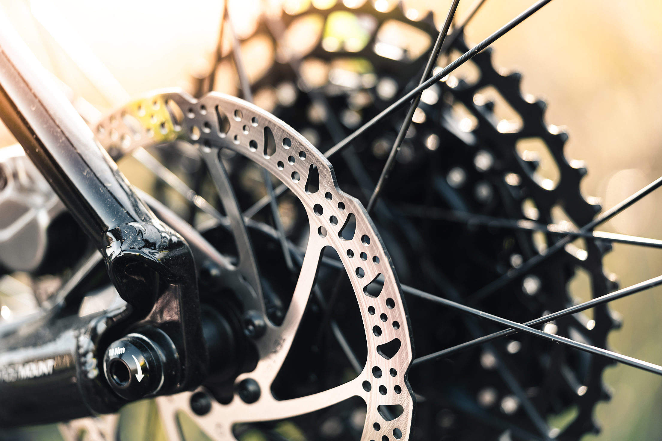Mountain Bike Wheel with Disc Brake Close Up Free Stock Photo