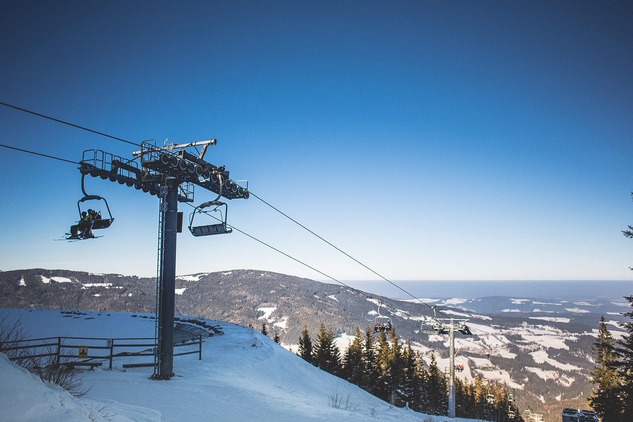 Mountain Top: Ski Lift Free Stock Photo