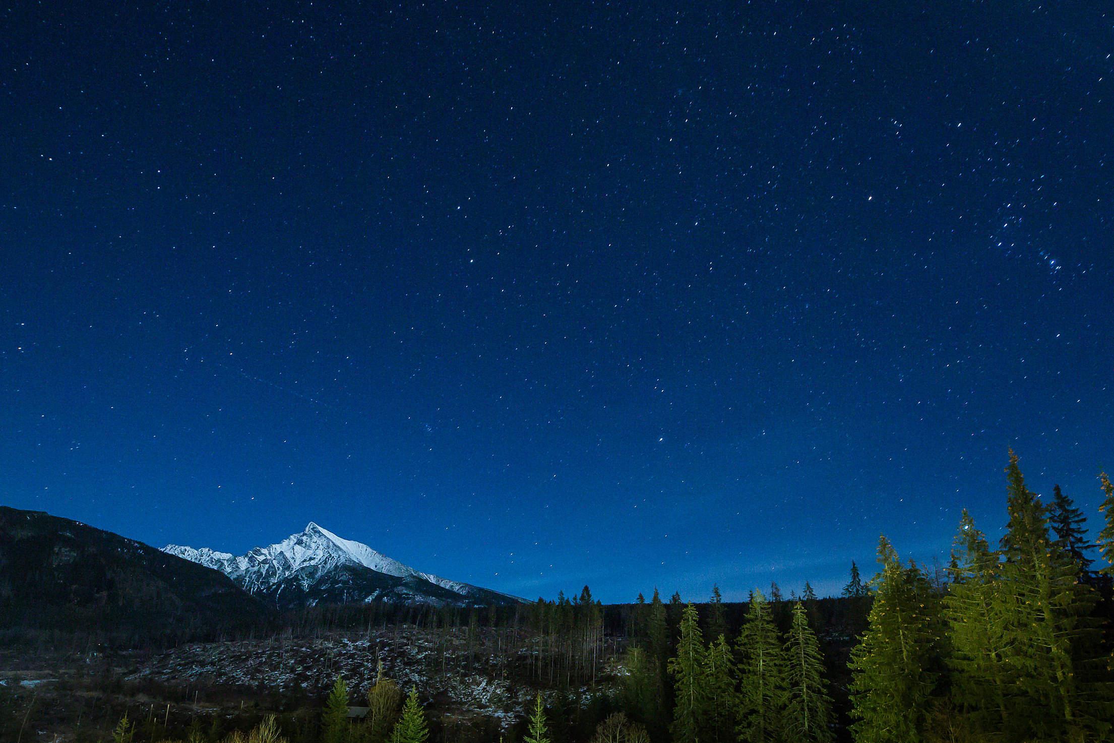 Mountain With Night Sky Full of Stars Free Stock Photo