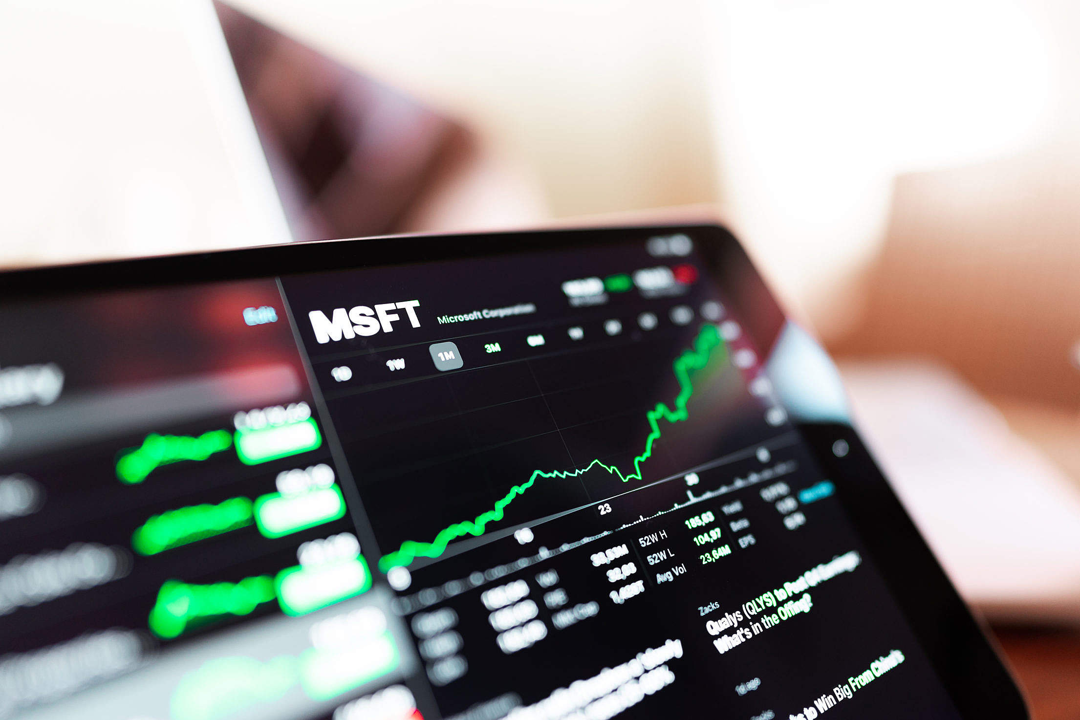 MSFT Stock Exchange Chart Free Stock Photo